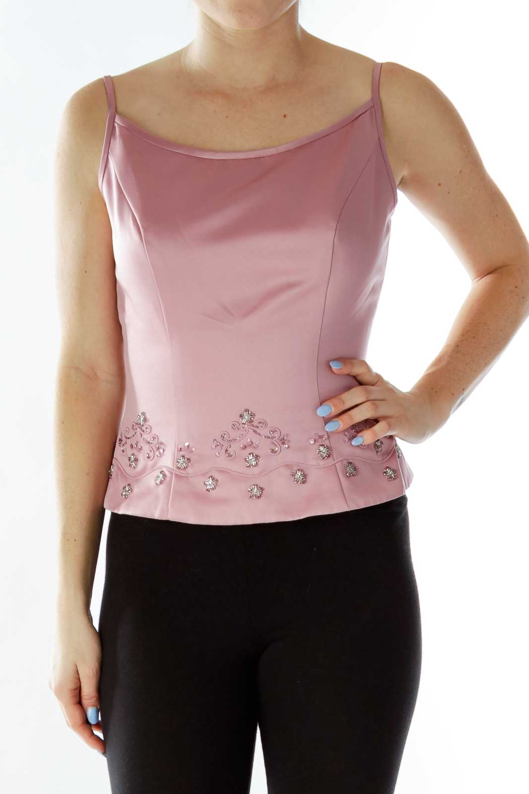 Pink Beaded Spaghetti Strap Top Front