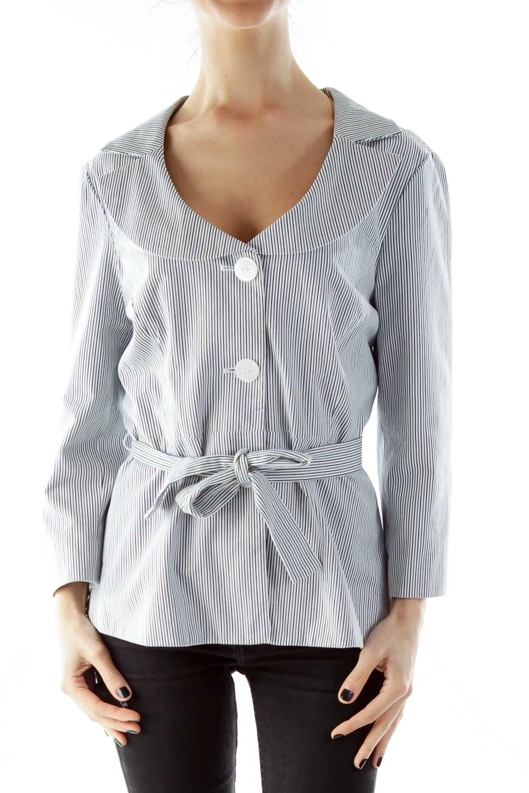 White Black Blue Striped Belted Fitted Jacket Front