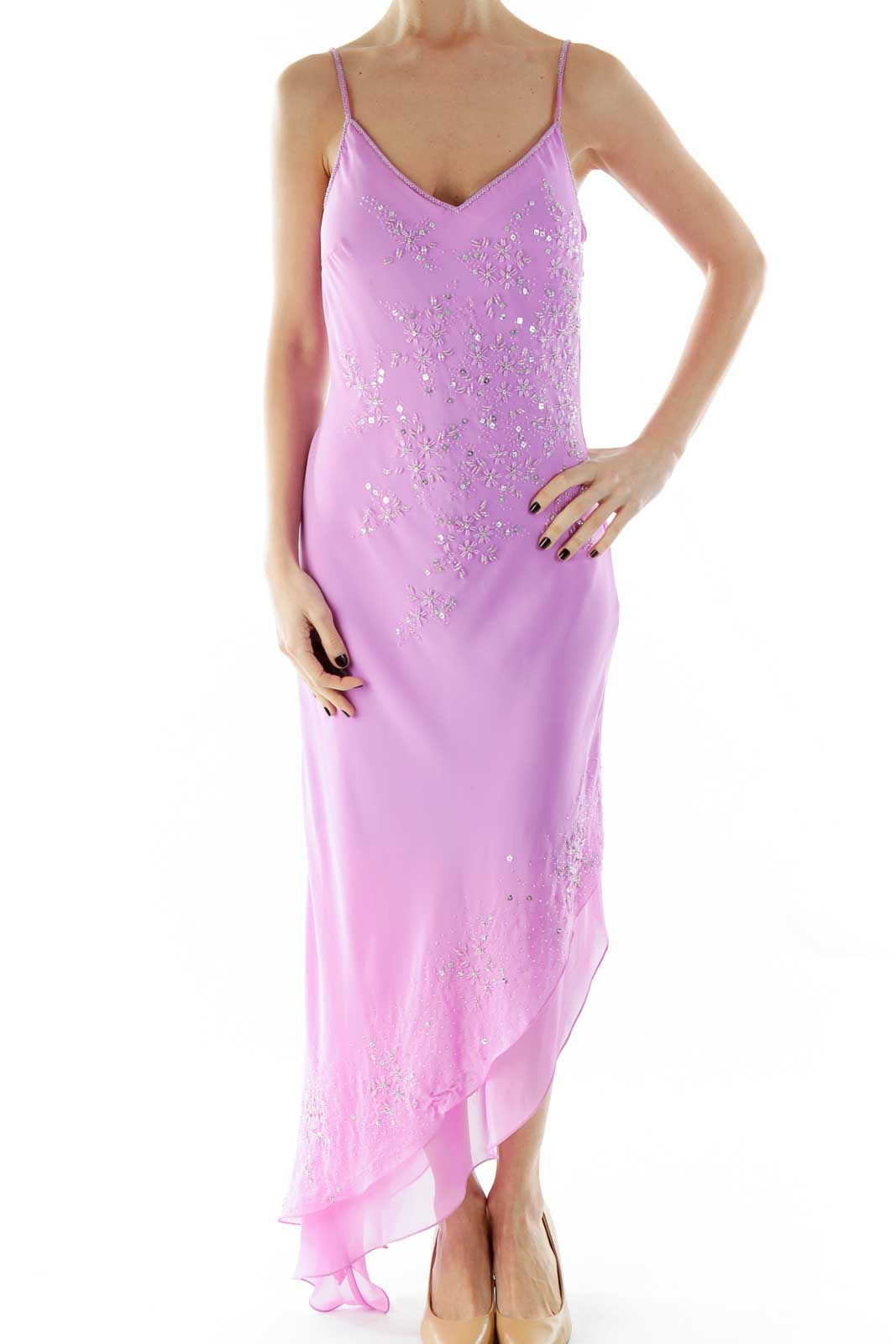 Purple Beaded V-Neck Spaghetti Strap Evening Gown Front