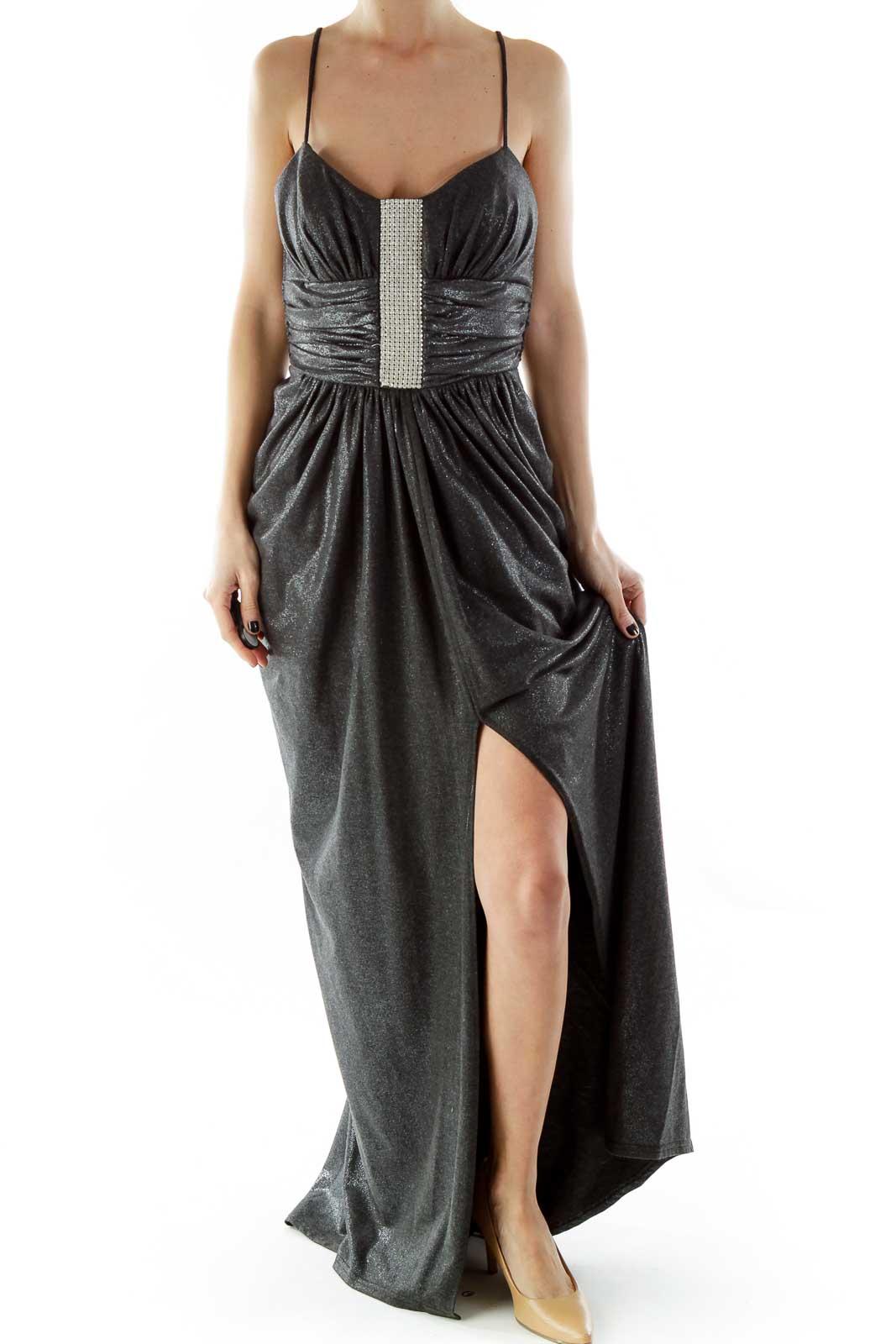 Gray Spaghetti Strap Metallic Evening Dress with Rhinestones Front