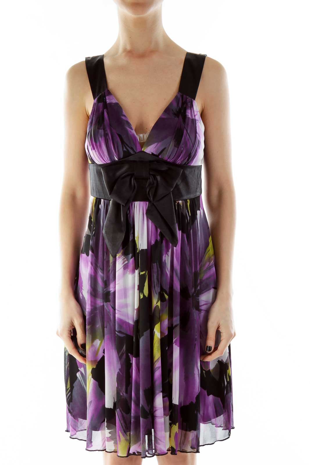 Black Purple V-Neck Floral Bow Cocktail Dress Front