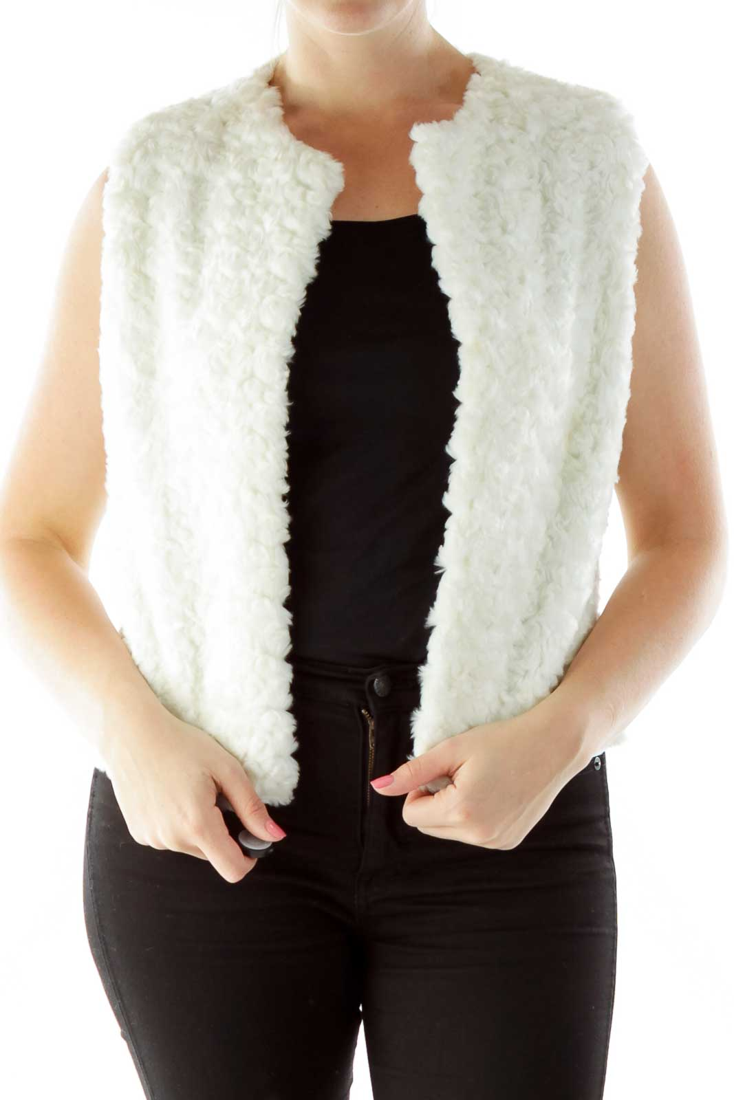 White Faux-Fur Open Vest Front