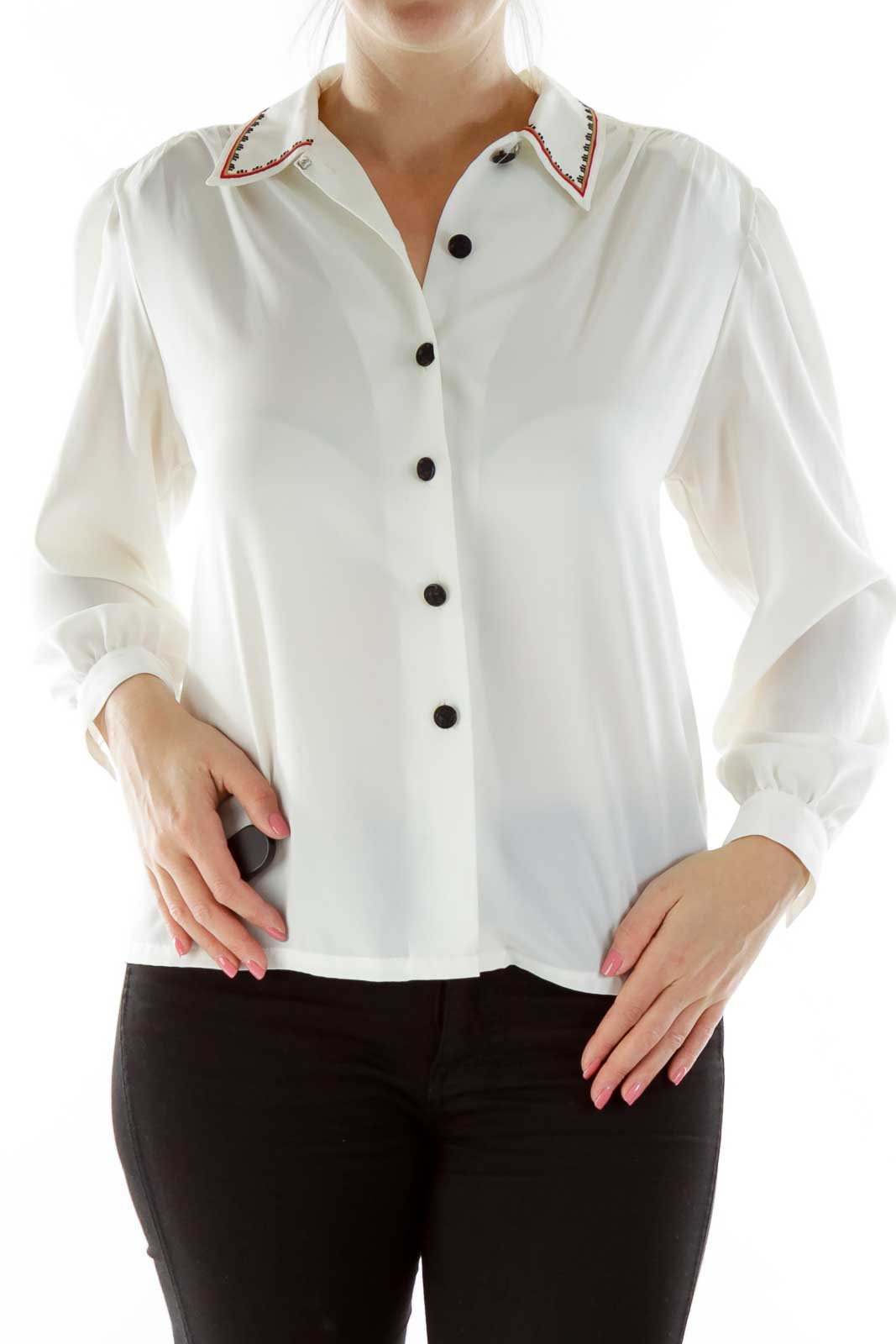 White Embroidered Shirt Front