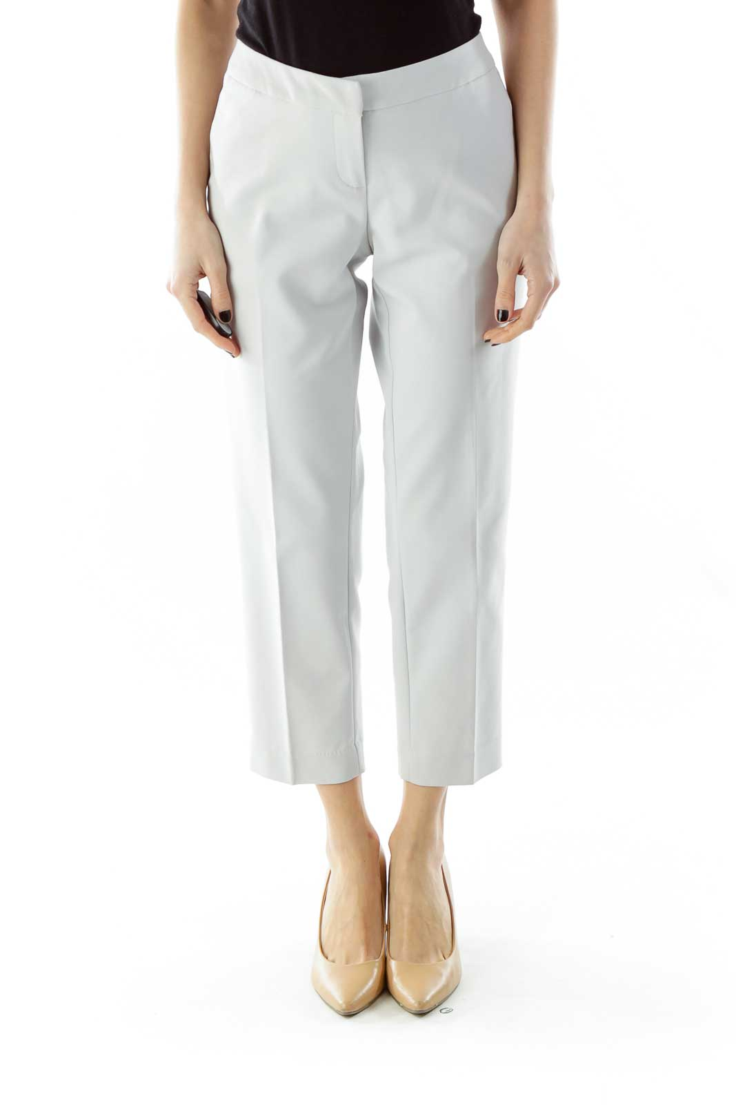 Light Gray Cropped Pants Front