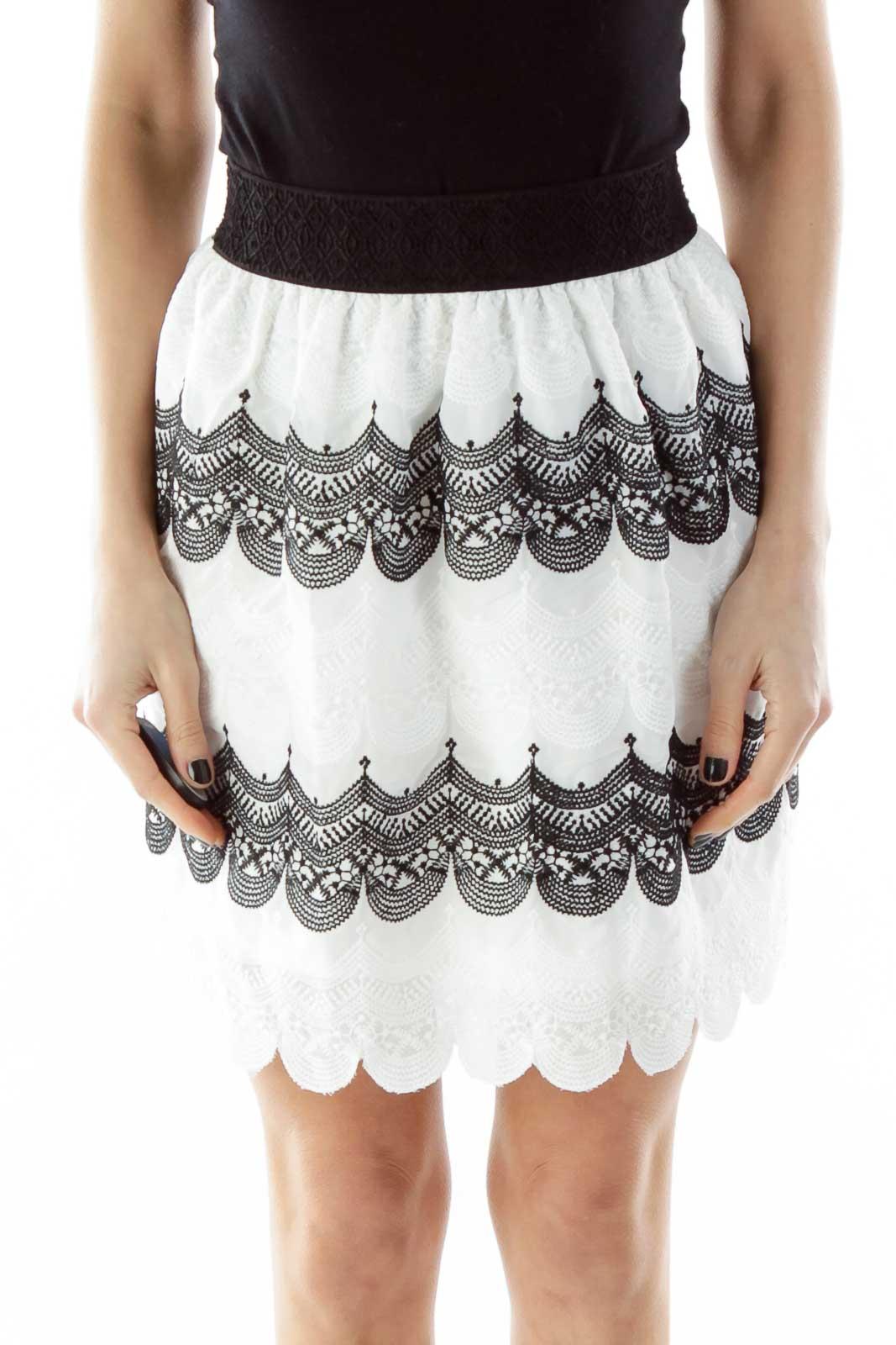 Black White Embroidered Skirt Front