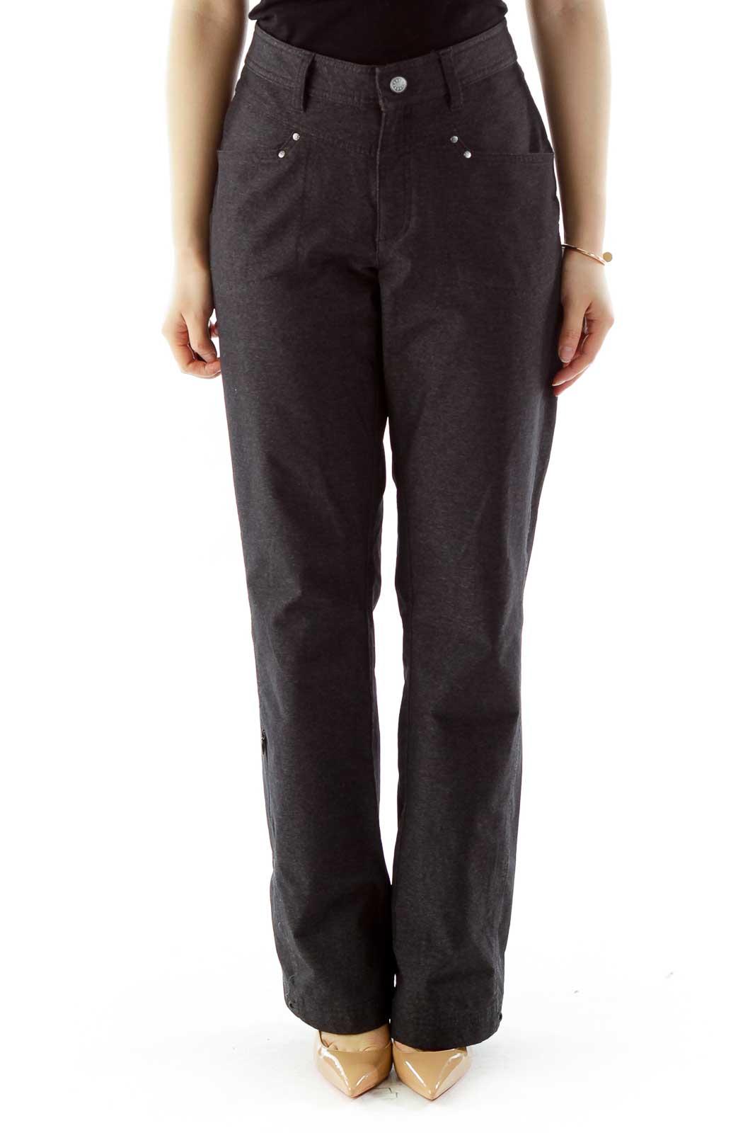 Dark Gray Straight-Leg Pants Front