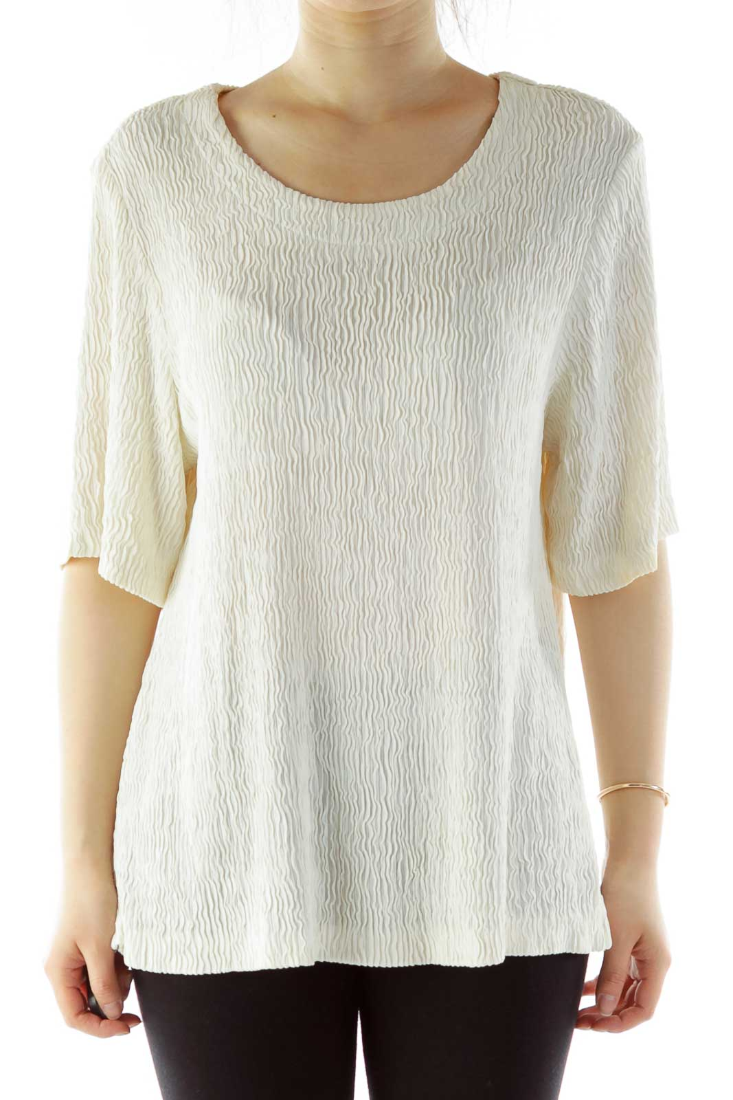 Cream Textured Short-Sleeve Blouse Front