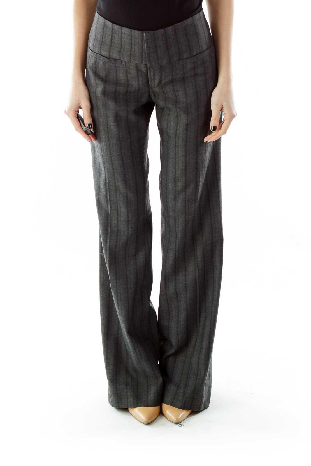 Gray Black Striped Wide-Leg Pants Front