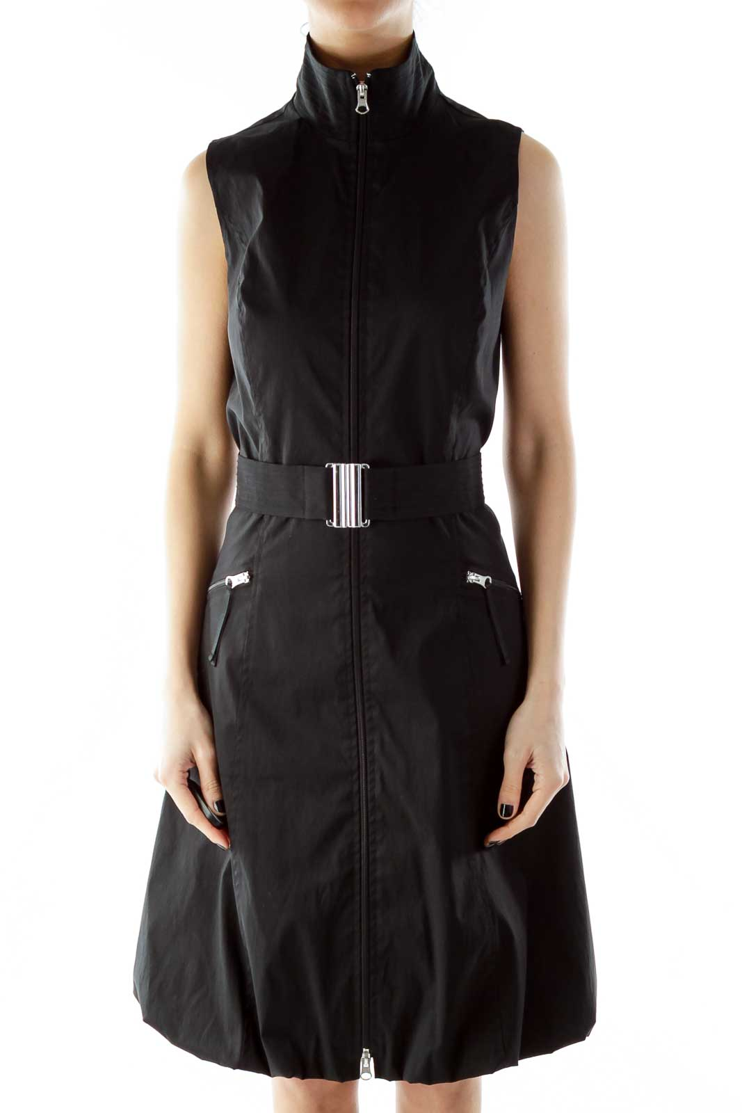 Black Zippered Belted Day Dress Front