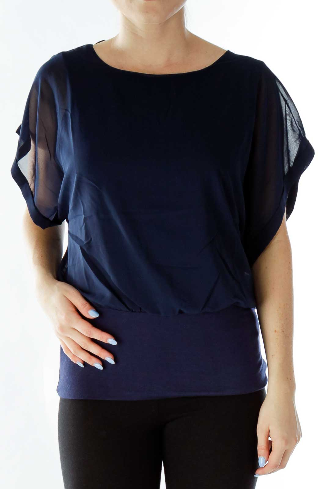 Navy Oversized Loose Blouse Front