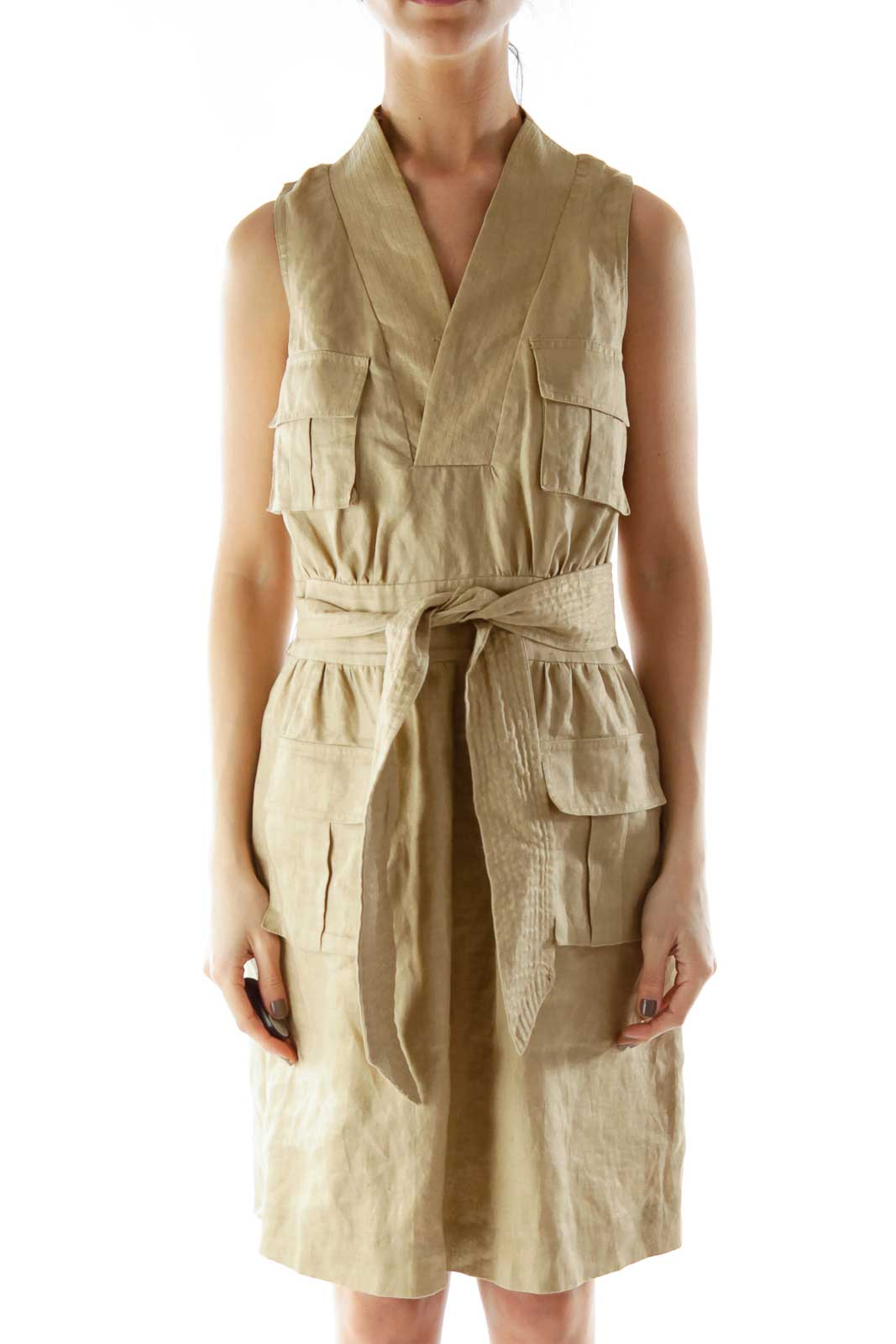 Beige Metallic Linen Day Dress With Sash Front