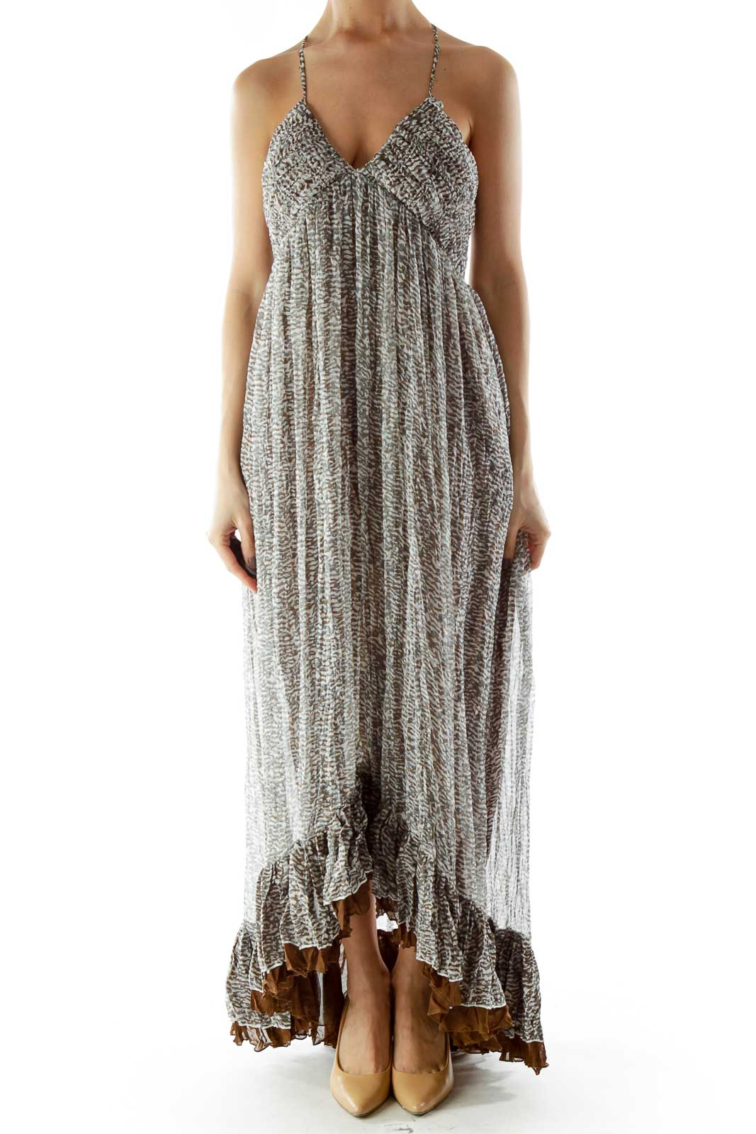 White Brown Green Ruffled Layered Maxi Dress with Adjustable Strap Front