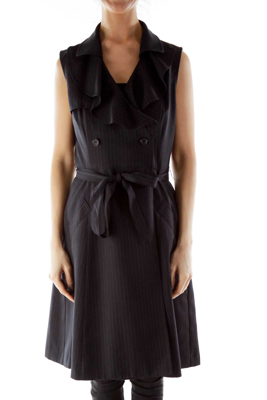 Black Ruffled Pinstripe Double-Breasted Blazer Dress Front