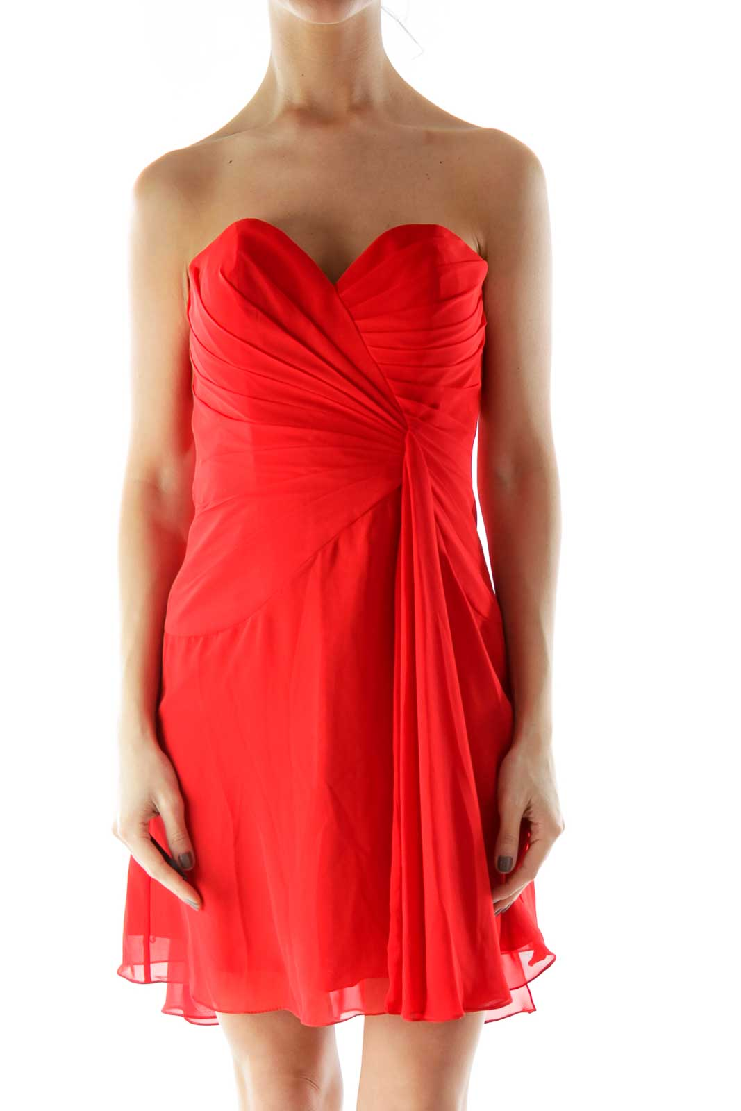 Red Pleated Draped Strapless Cocktail Dress Front