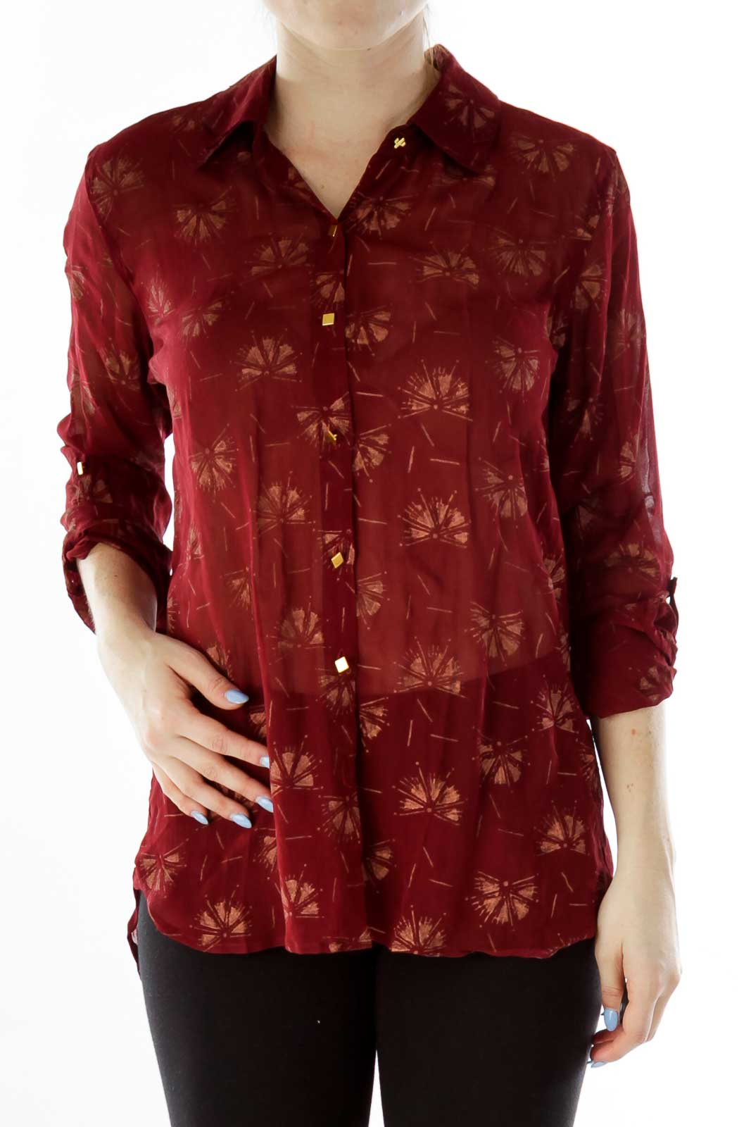 Red Beige See-Through Dancing-Fan Print Button Down Front