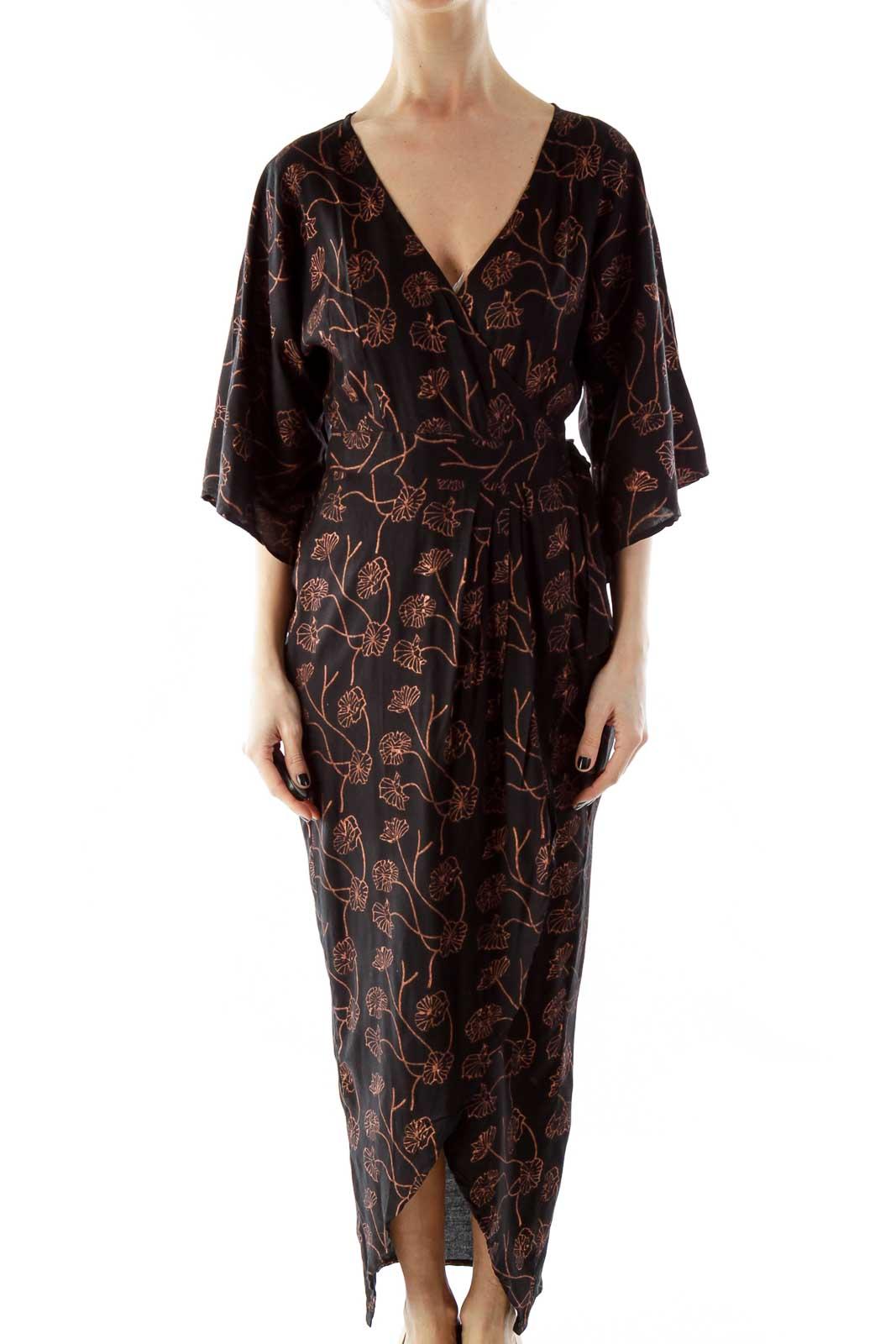 Copper Flower Print Kimono Maxi Wrap Dress Front