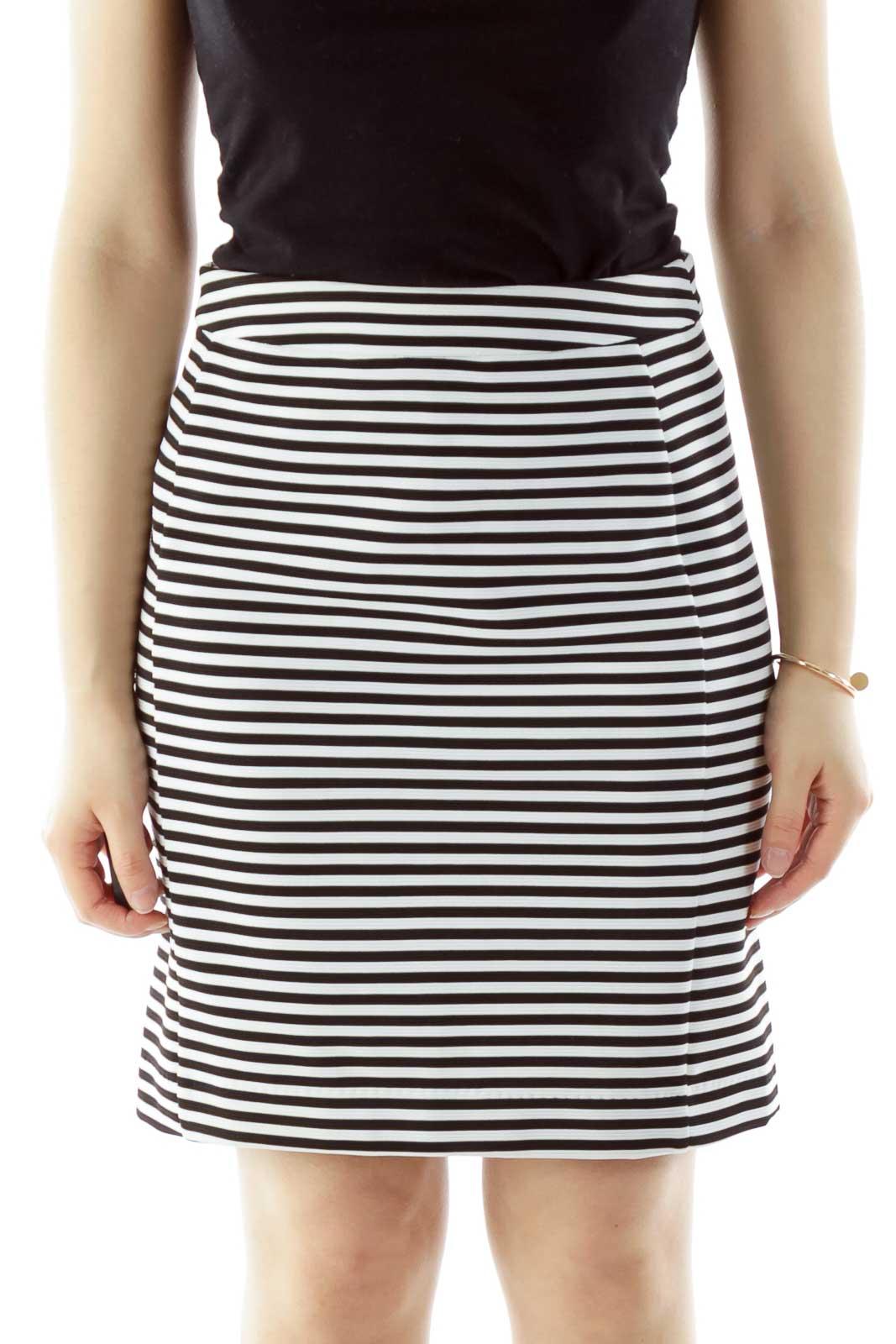 Black White Striped Textured Skirt Front