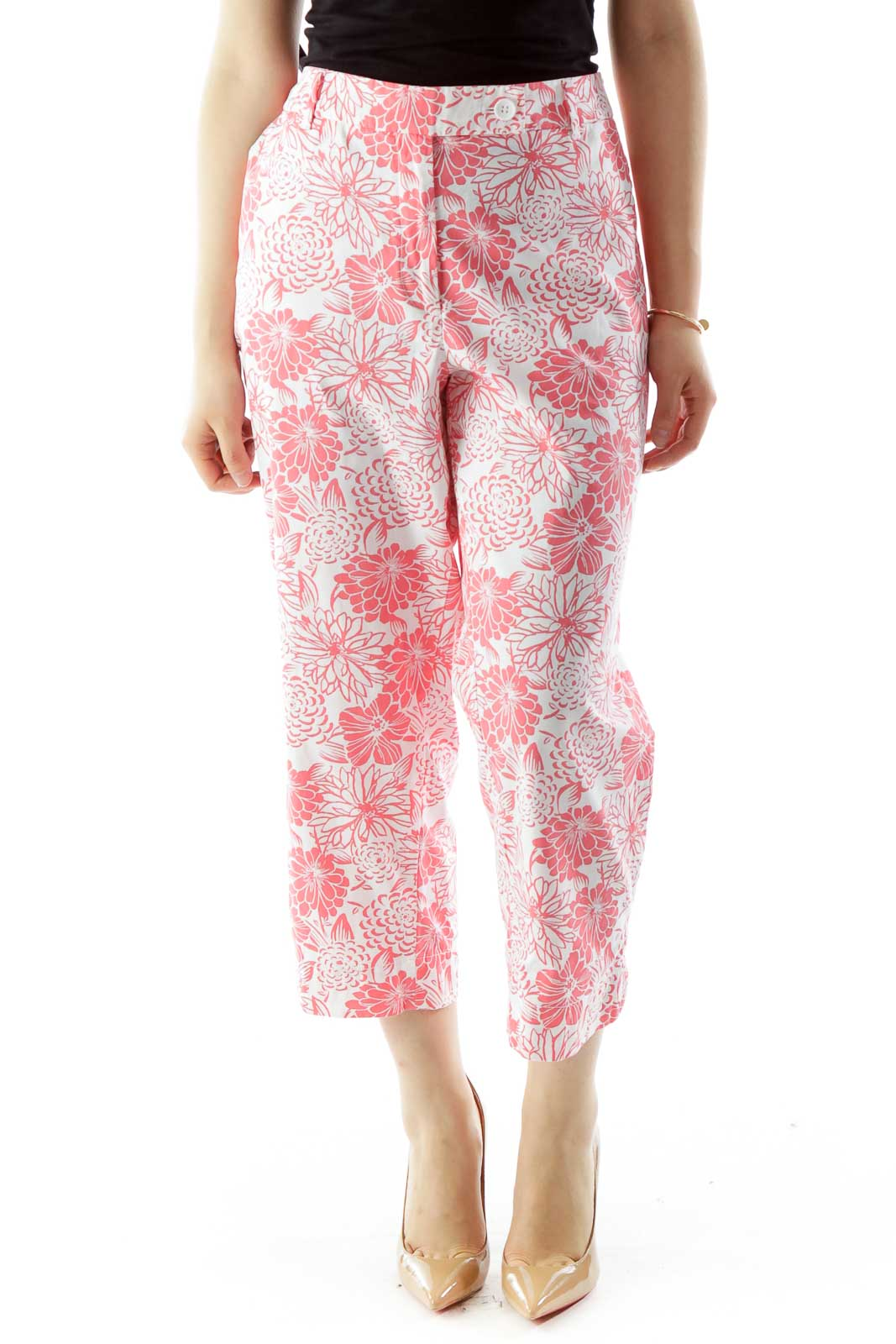 Pink White Flower Print Tapered Pants Front