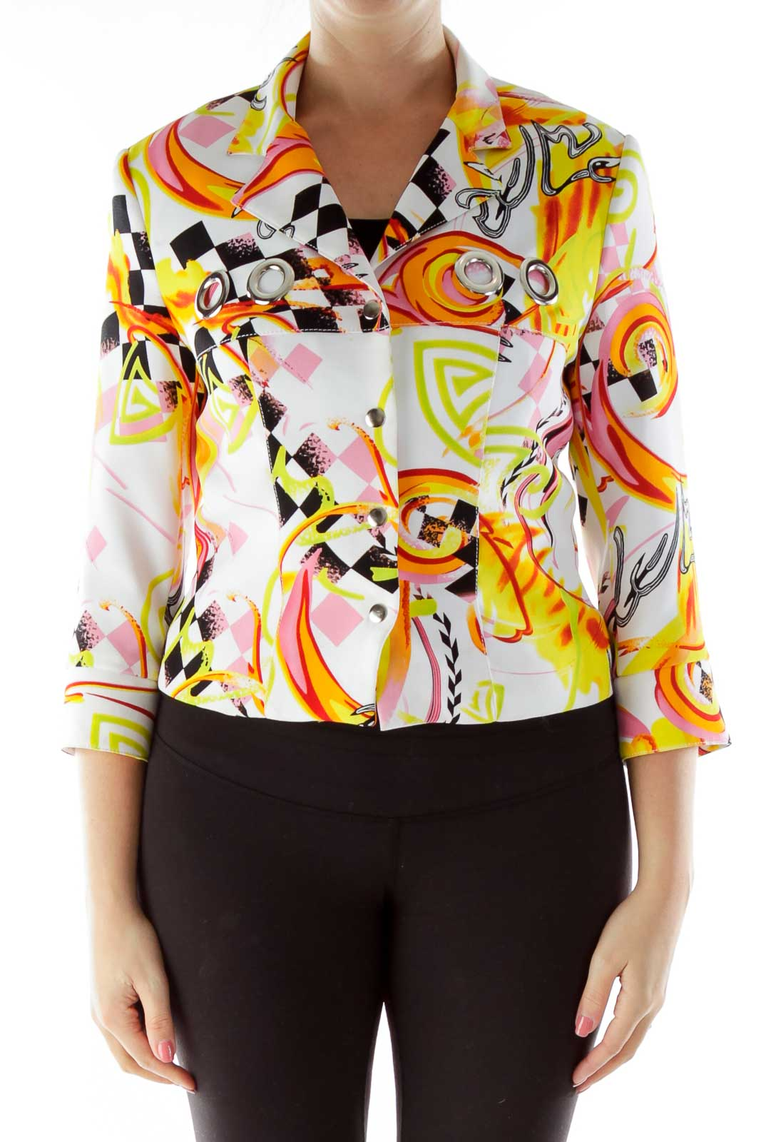 Multicolor Buttoned Print Jacket with Hoop Detail Front