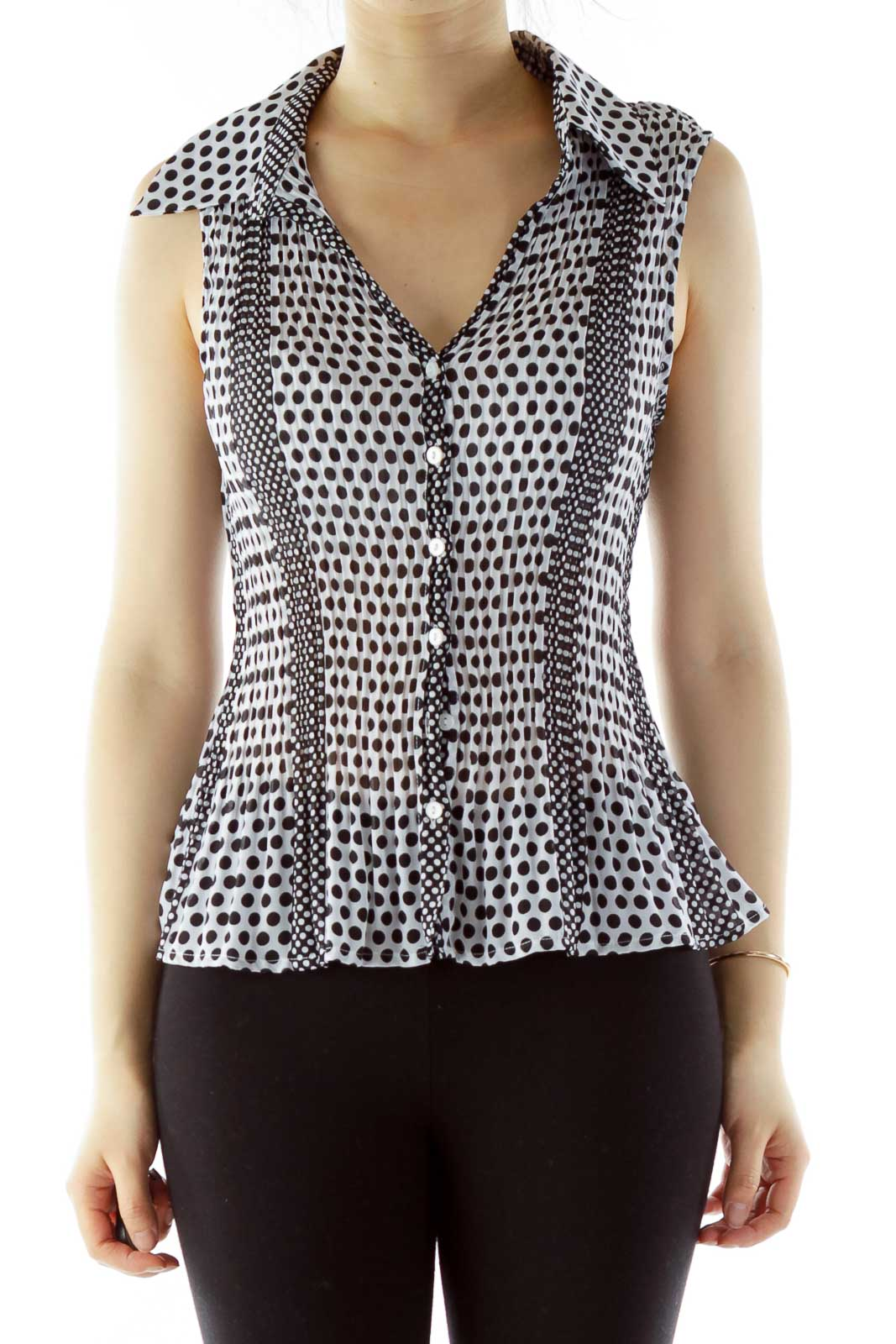 Black White Elastic Polka-Dot V-Neck Blouse Front