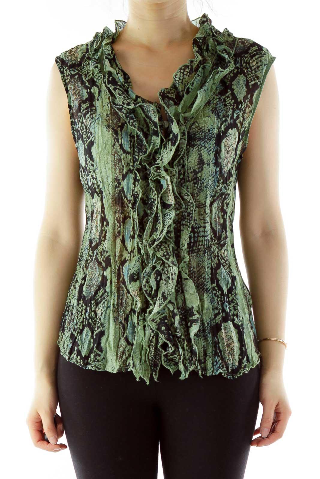Green Black Ruffled Elastic Snake Skin Blouse Front