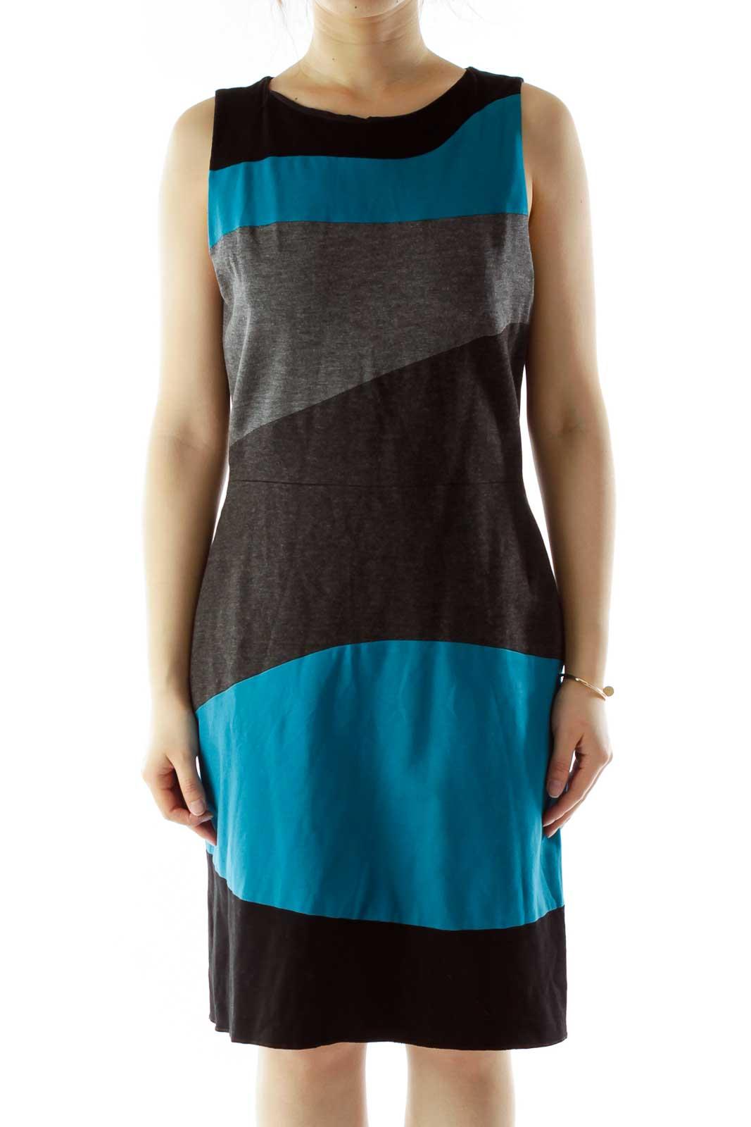 Black Gray Blue Color Block Work Dress Front