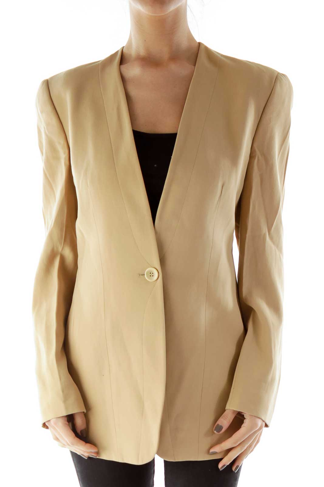 Beige Single-Breasted Blazer Front