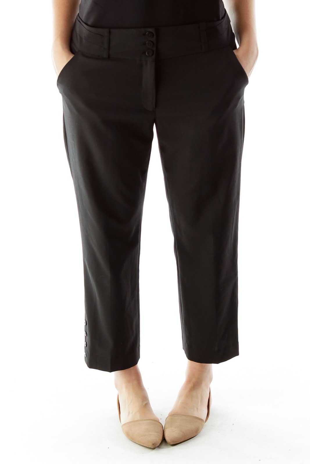 Black Cropped Slacks Front