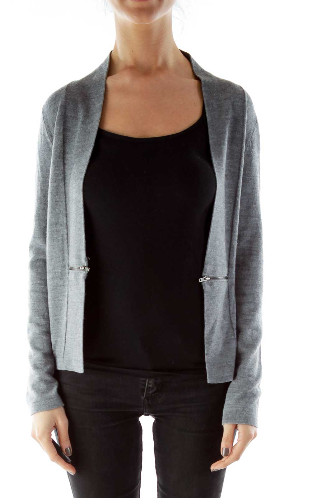 Gray Zippered Textured Open Cardigan Front