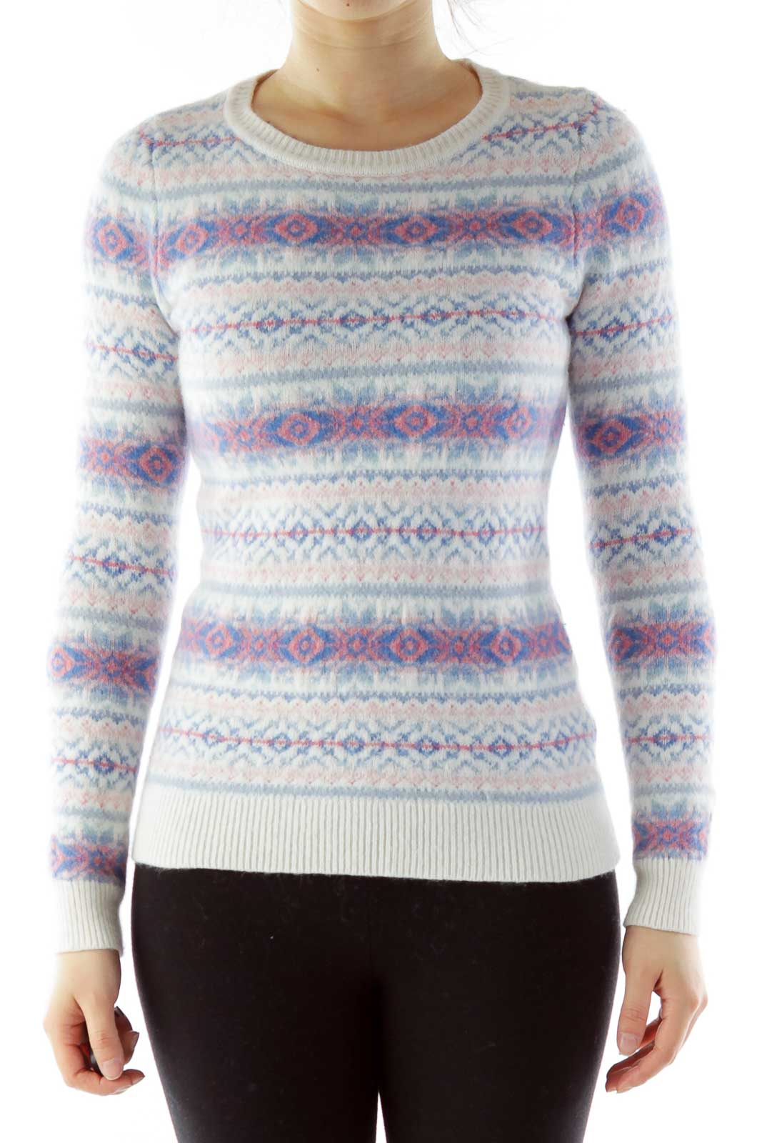 White Blue Red Geometric Print Wool Sweater Front