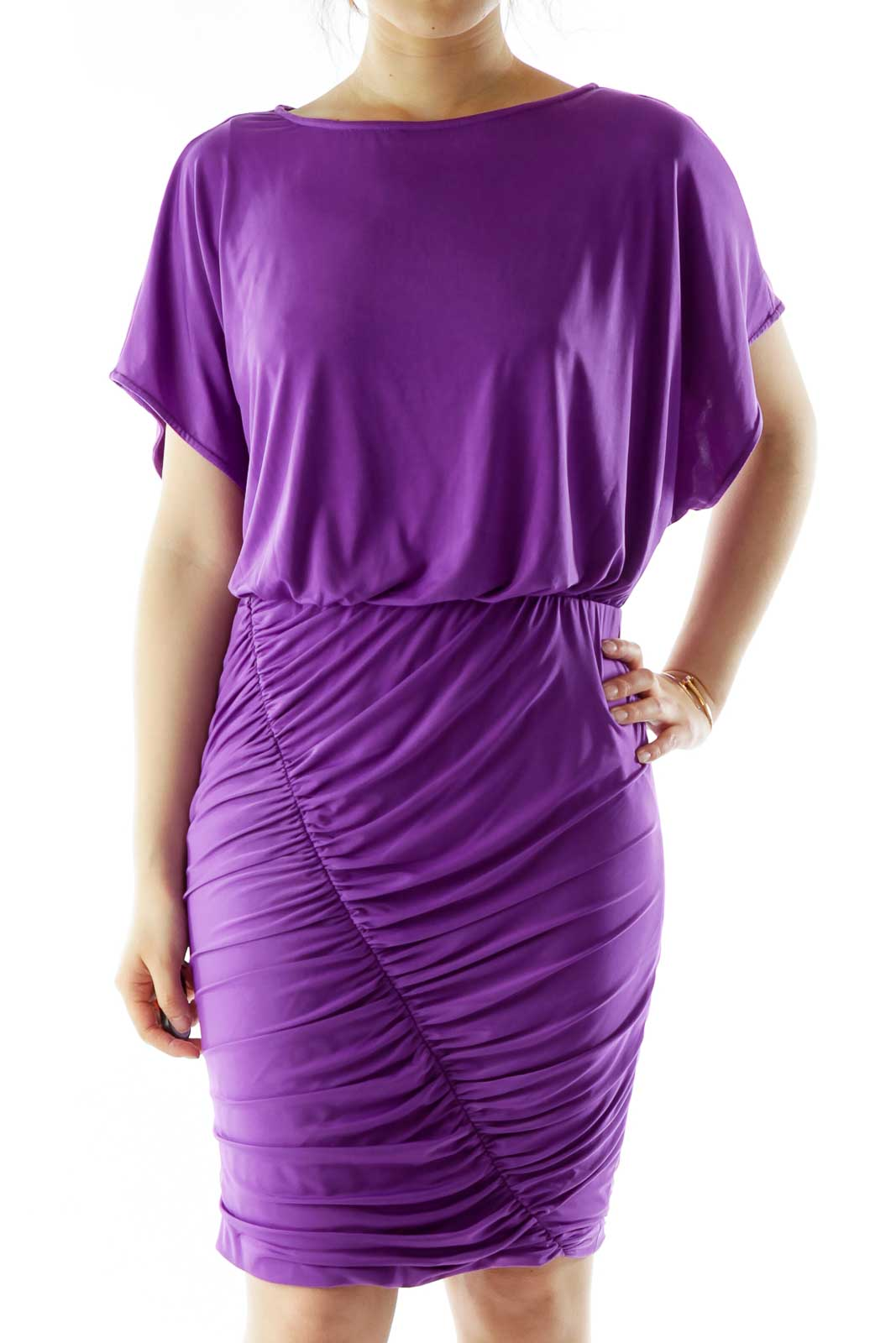 Purple Scrunched Cocktail Dress Front