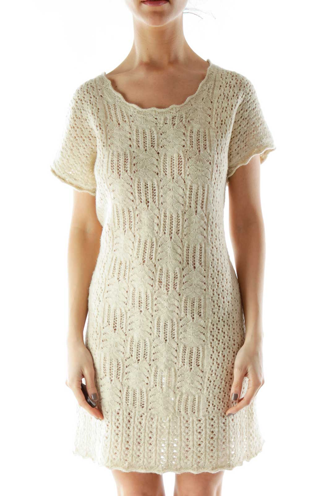 Beige Crocheted Day Dress Front