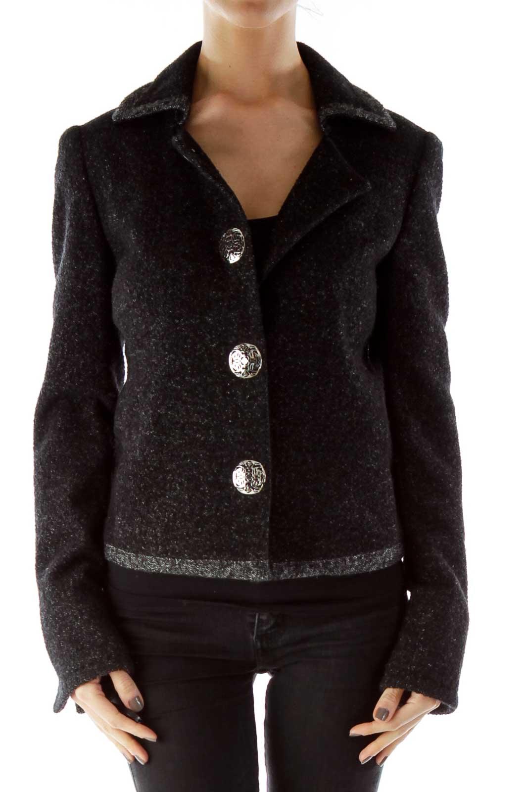 Black Silver Buttoned Mottled Tweed Jacket Front