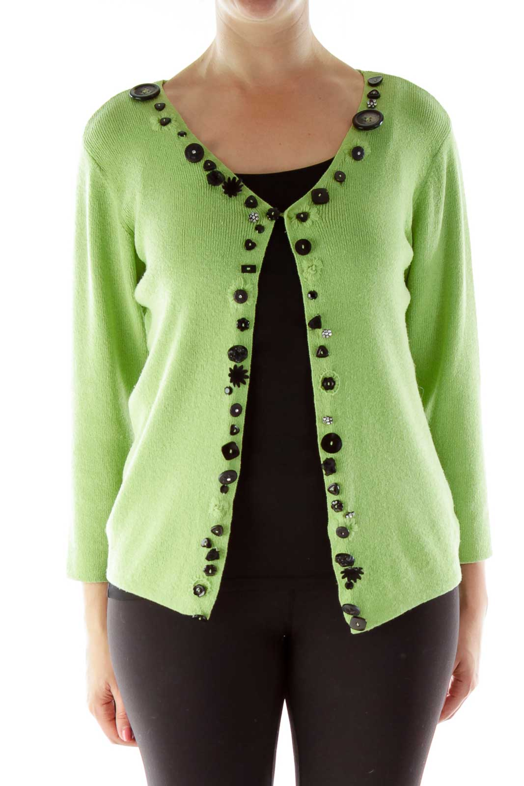 Green Beaded Knit Cardigan Front