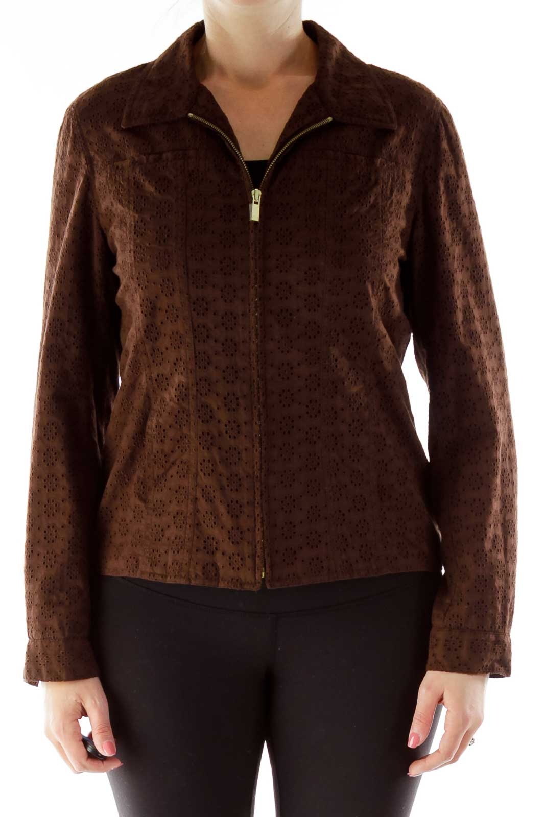 Brown Crocheted Zippered Jacket Front
