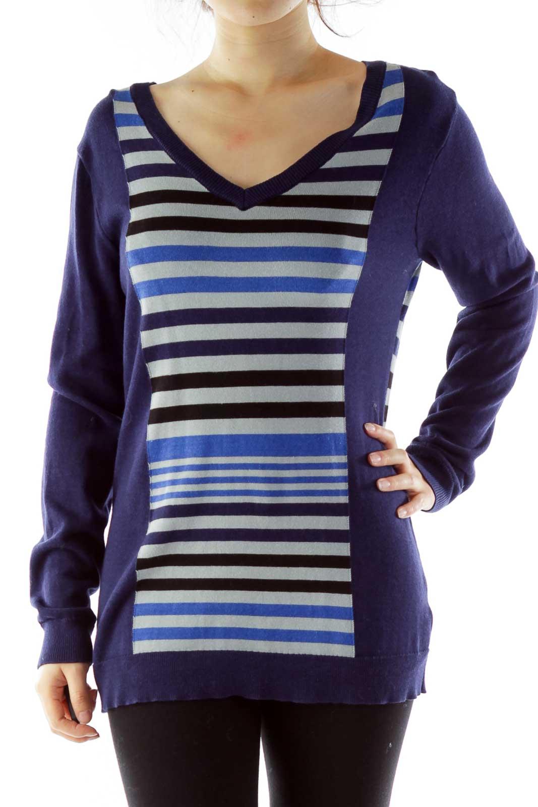 Navy Gray Striped V-Neck Knit Top Front