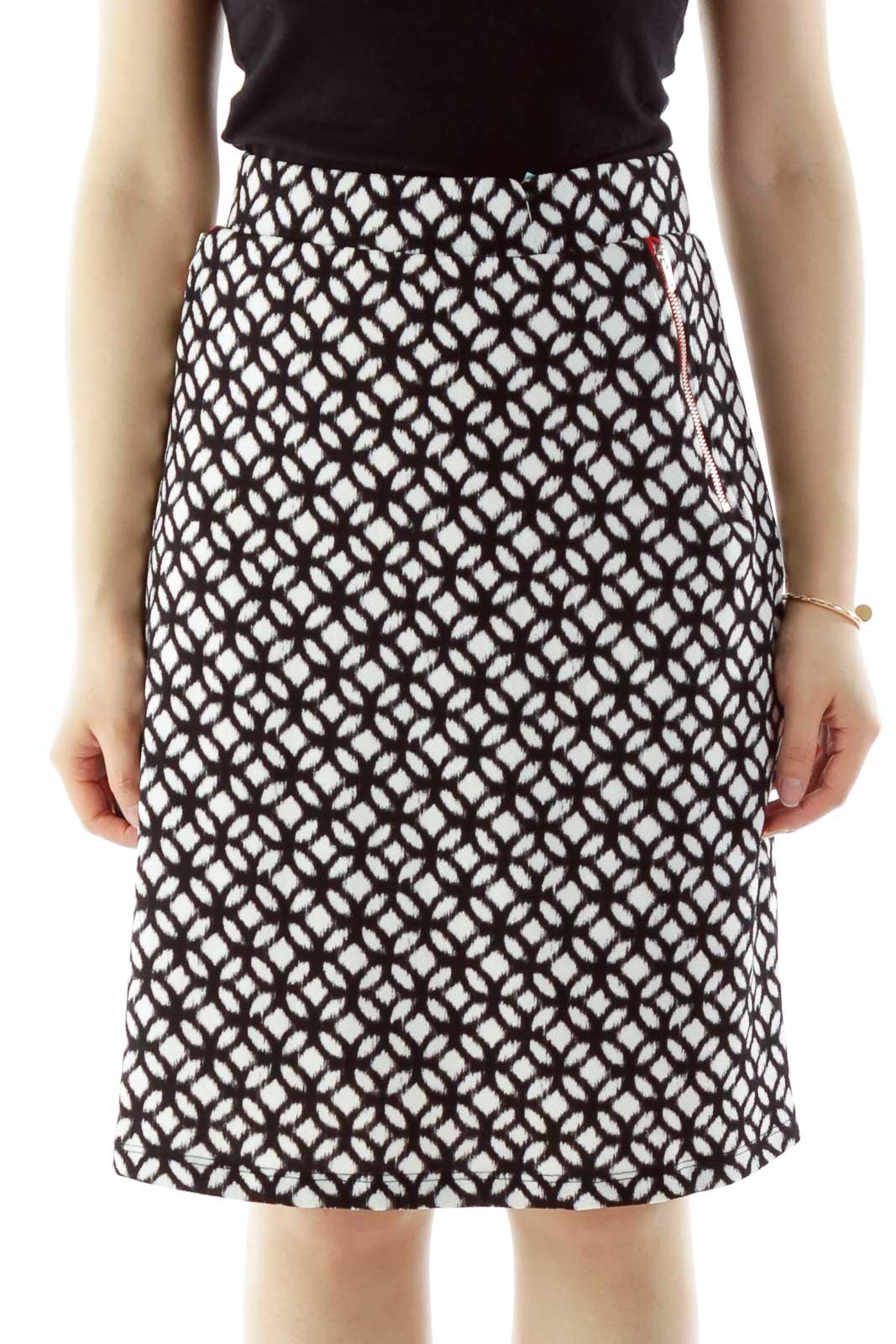 Black White Geometric Print Zip Pocket Detail Skirt Front