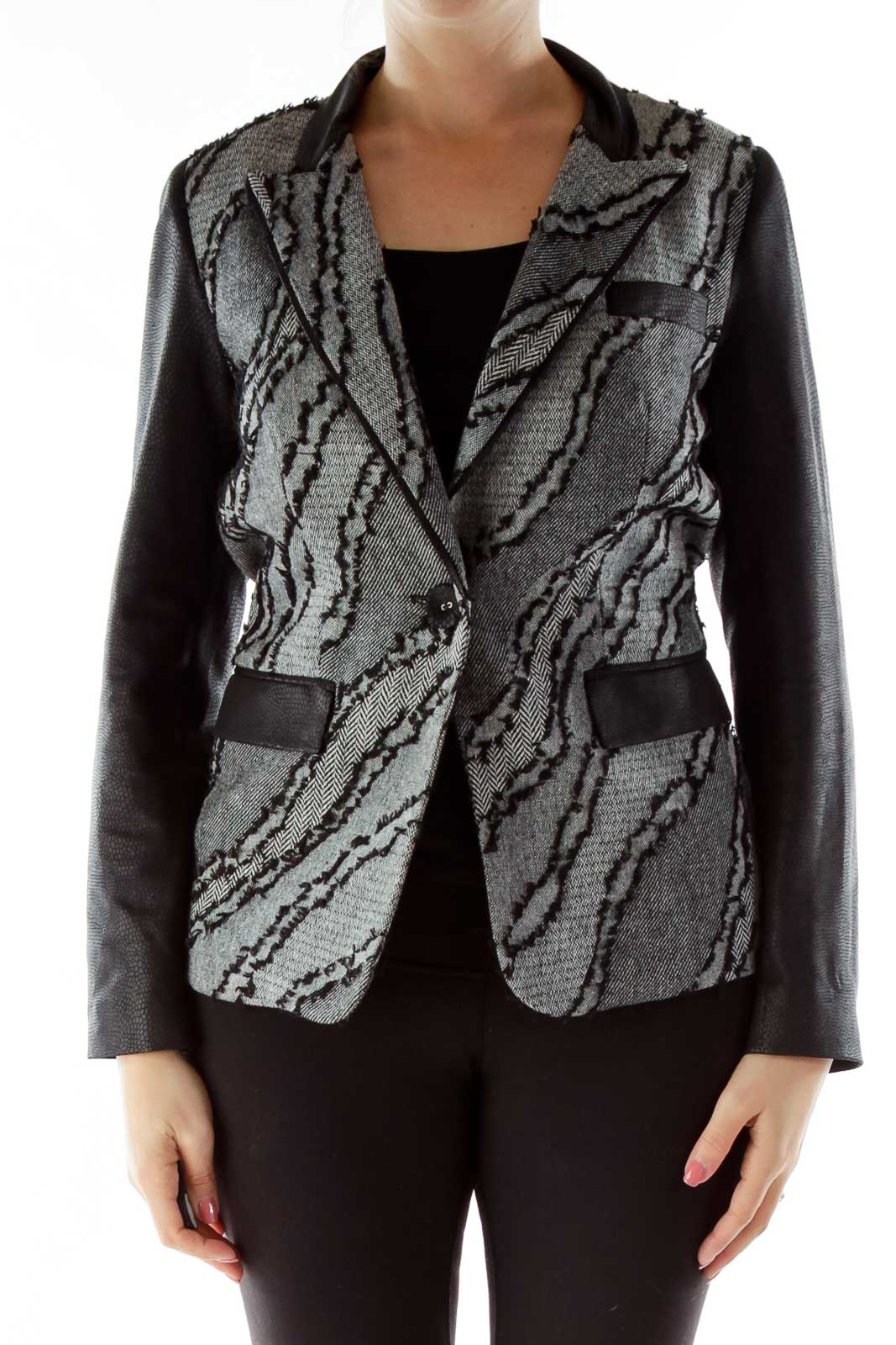 Black Gray Woven Detail Tweed Blazer Front