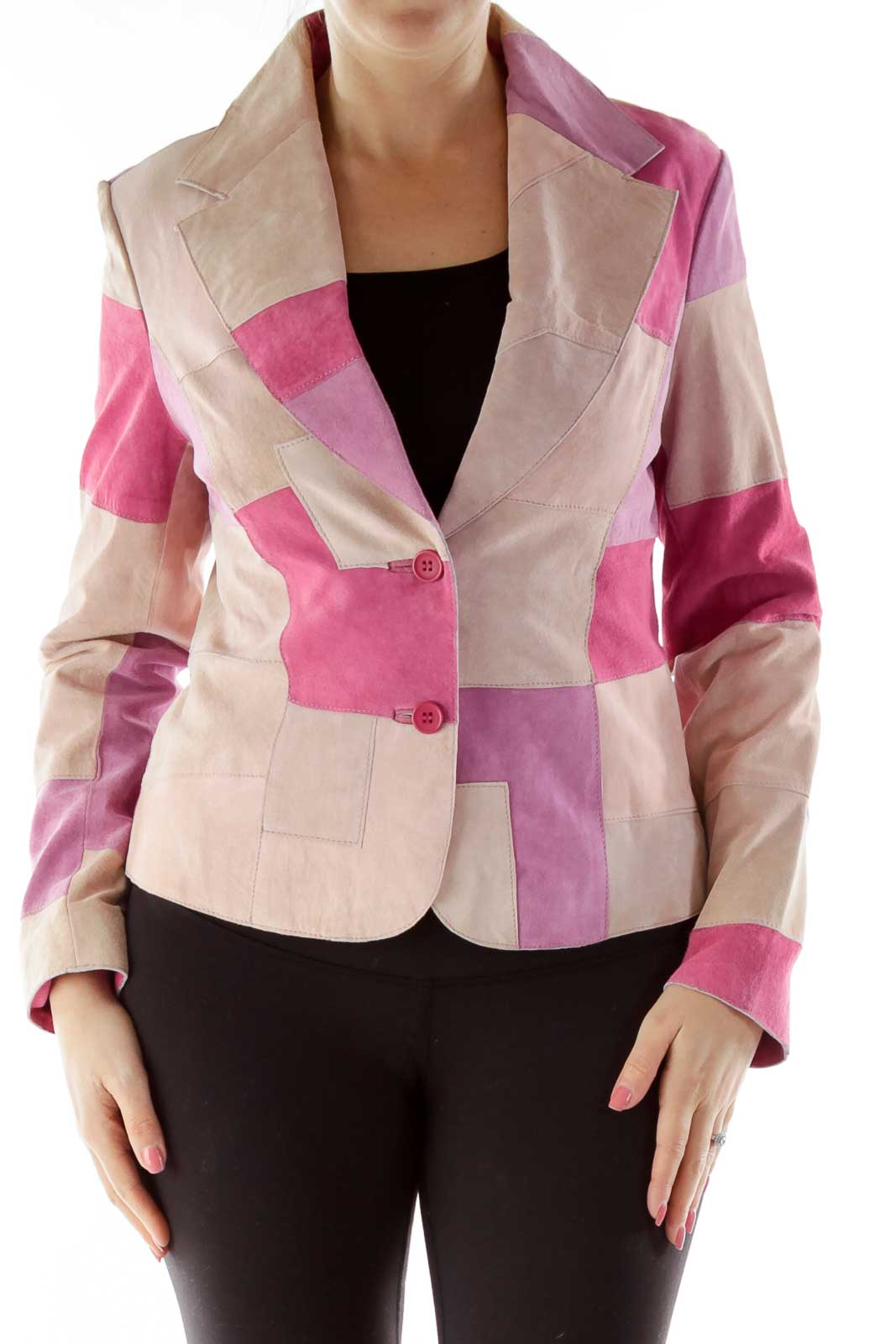 Pink Patch Suede Jacket Front