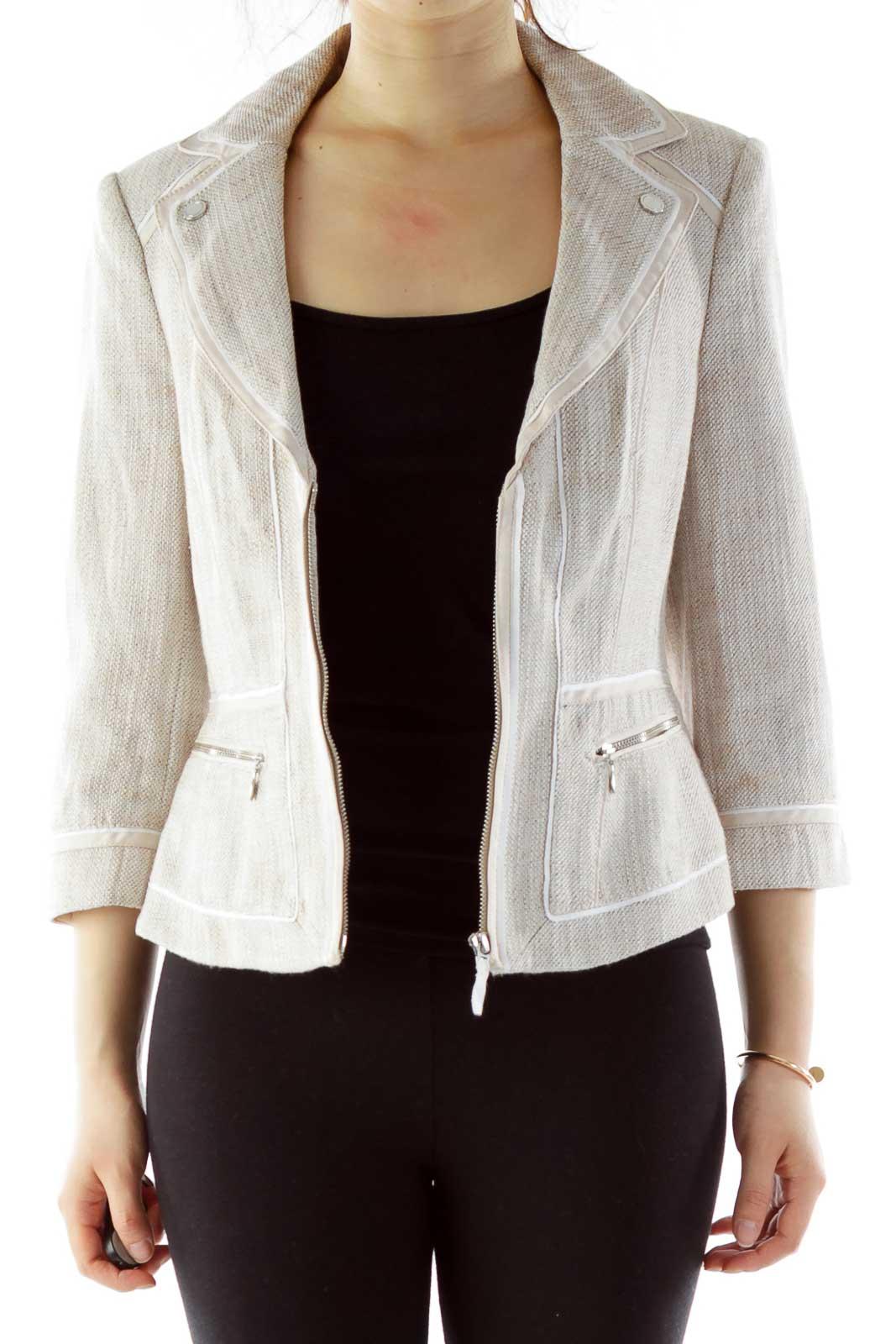 Cream Tweed Zippered Jacket Front