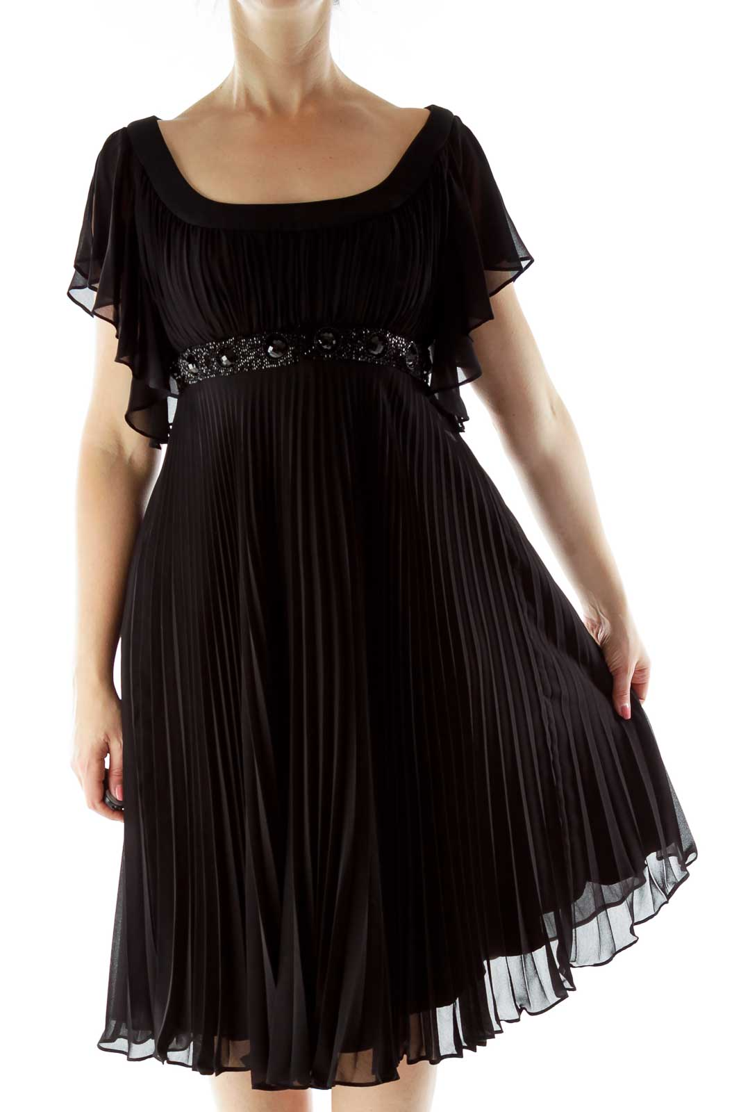 Black Beaded Evening Dress Front