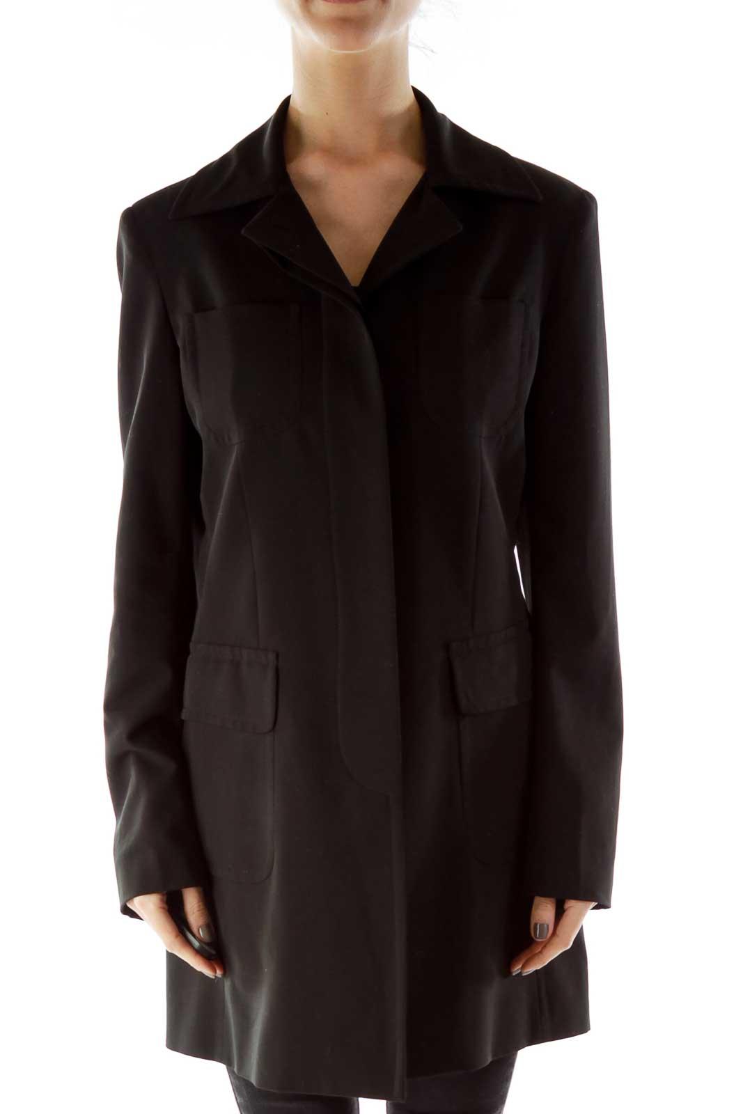 Black Single Breasted Blazer Front