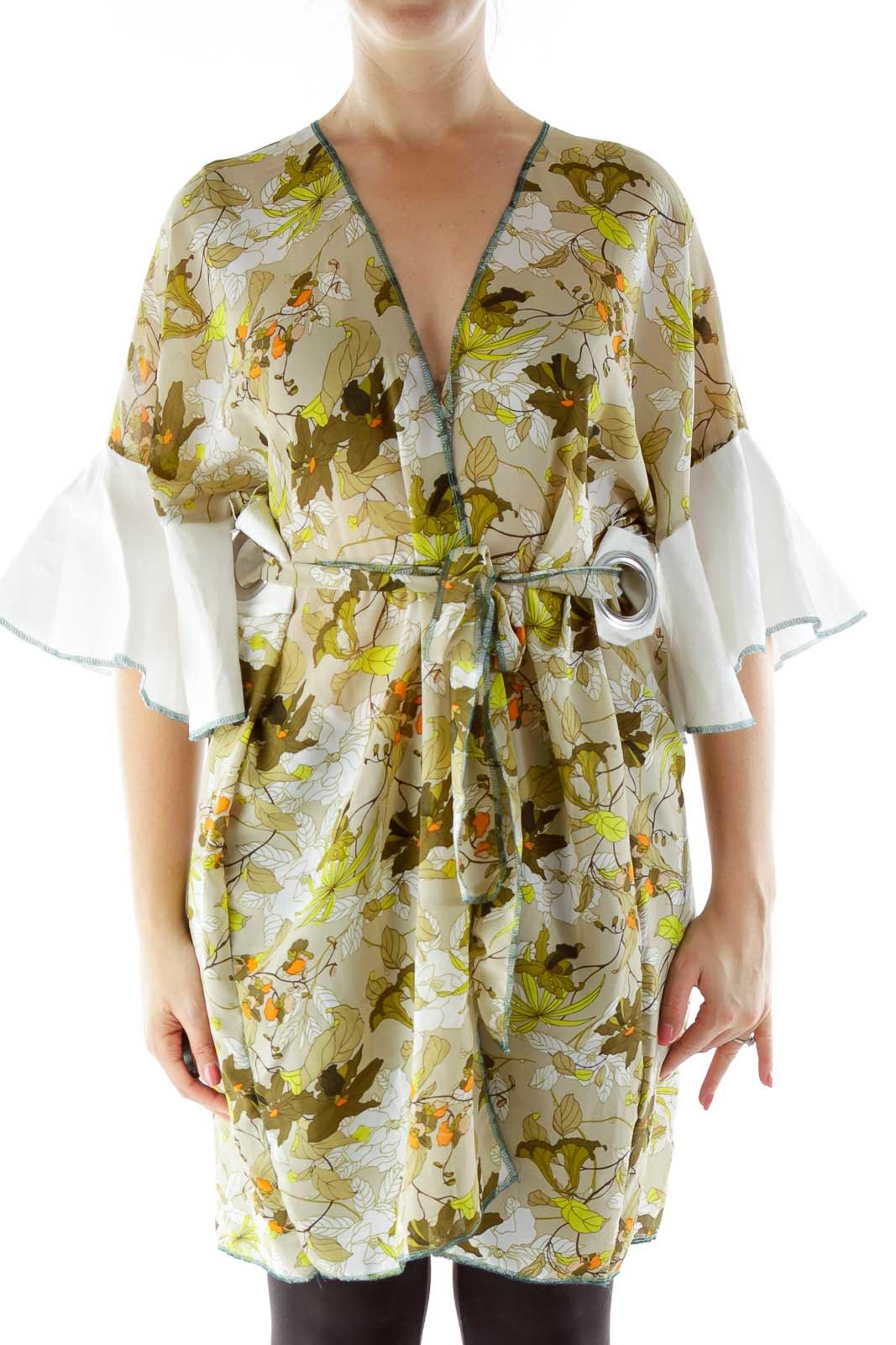 Green White Flower Print Kimono Front