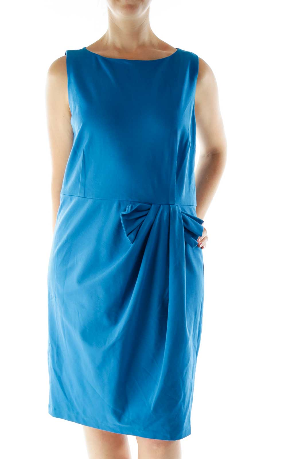 Blue Fitted Work Dress Front