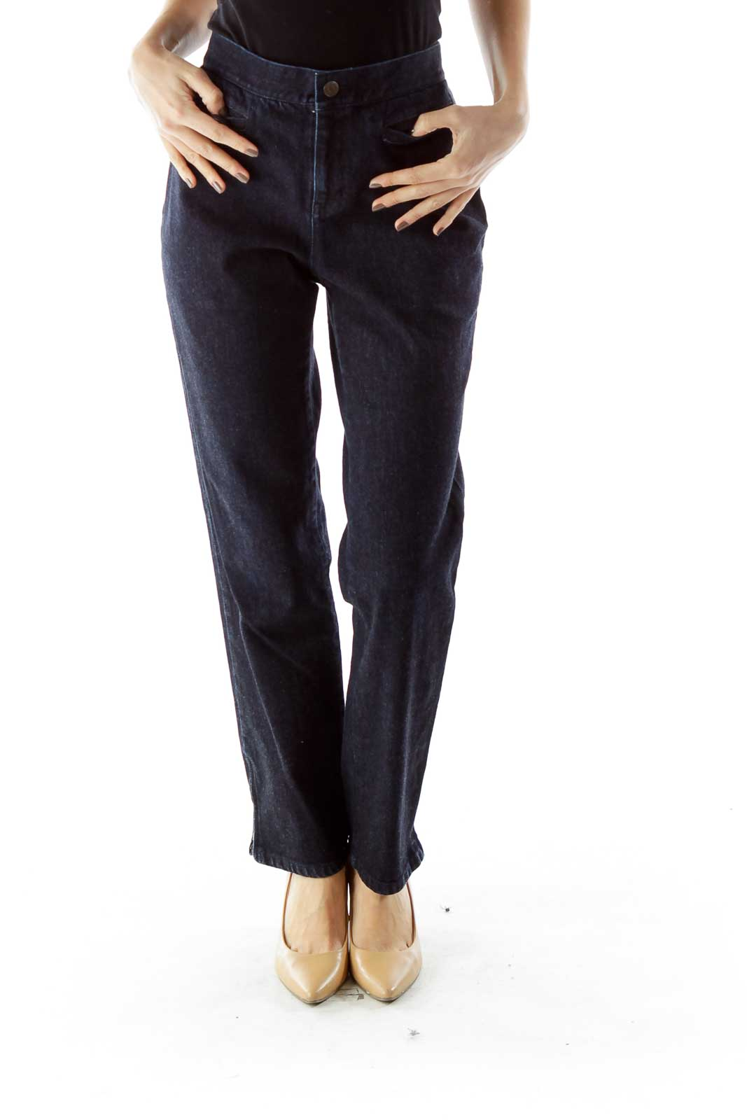Navy Straight Leg Jeans Front