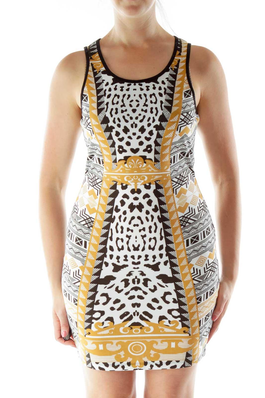 Black White Yellow Print Dress Front