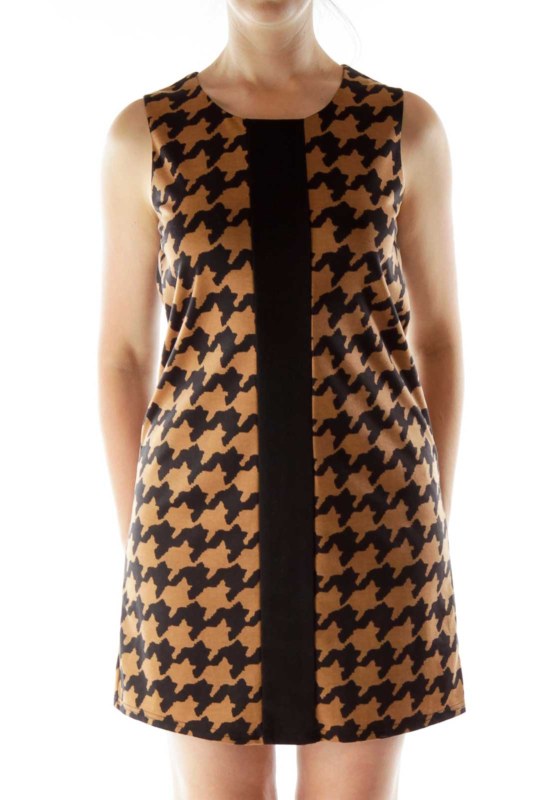 Black Brown Print Shift Dress Front