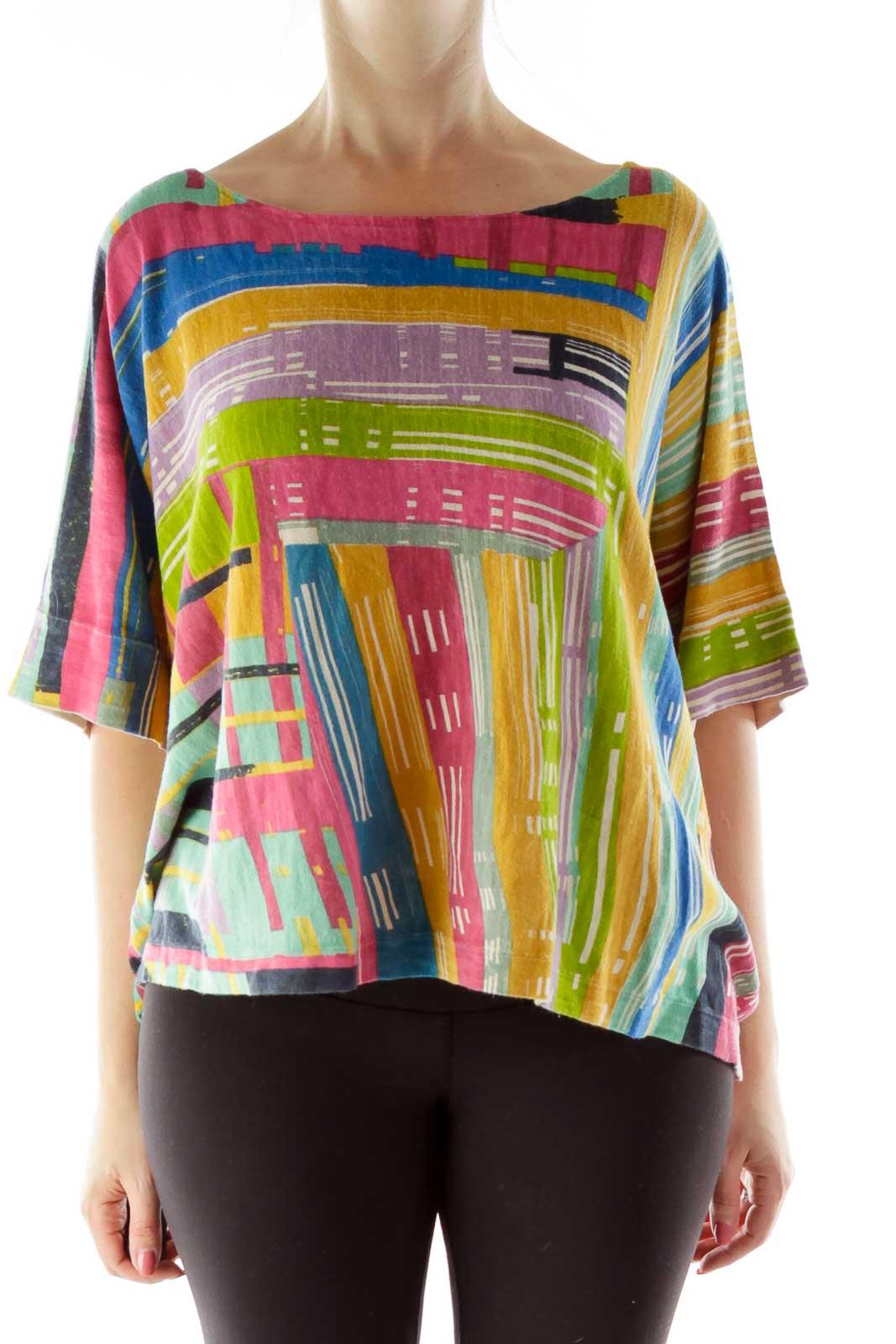 Multicolor Bat Sleeve Knit Top Front