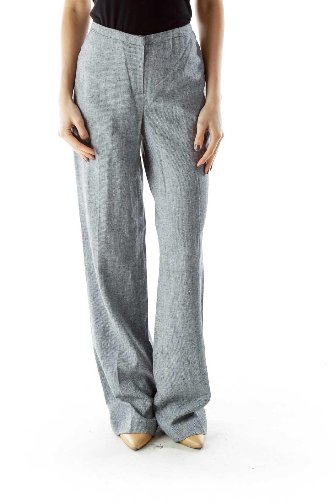 Gray Straight Leg Linen Pants Front