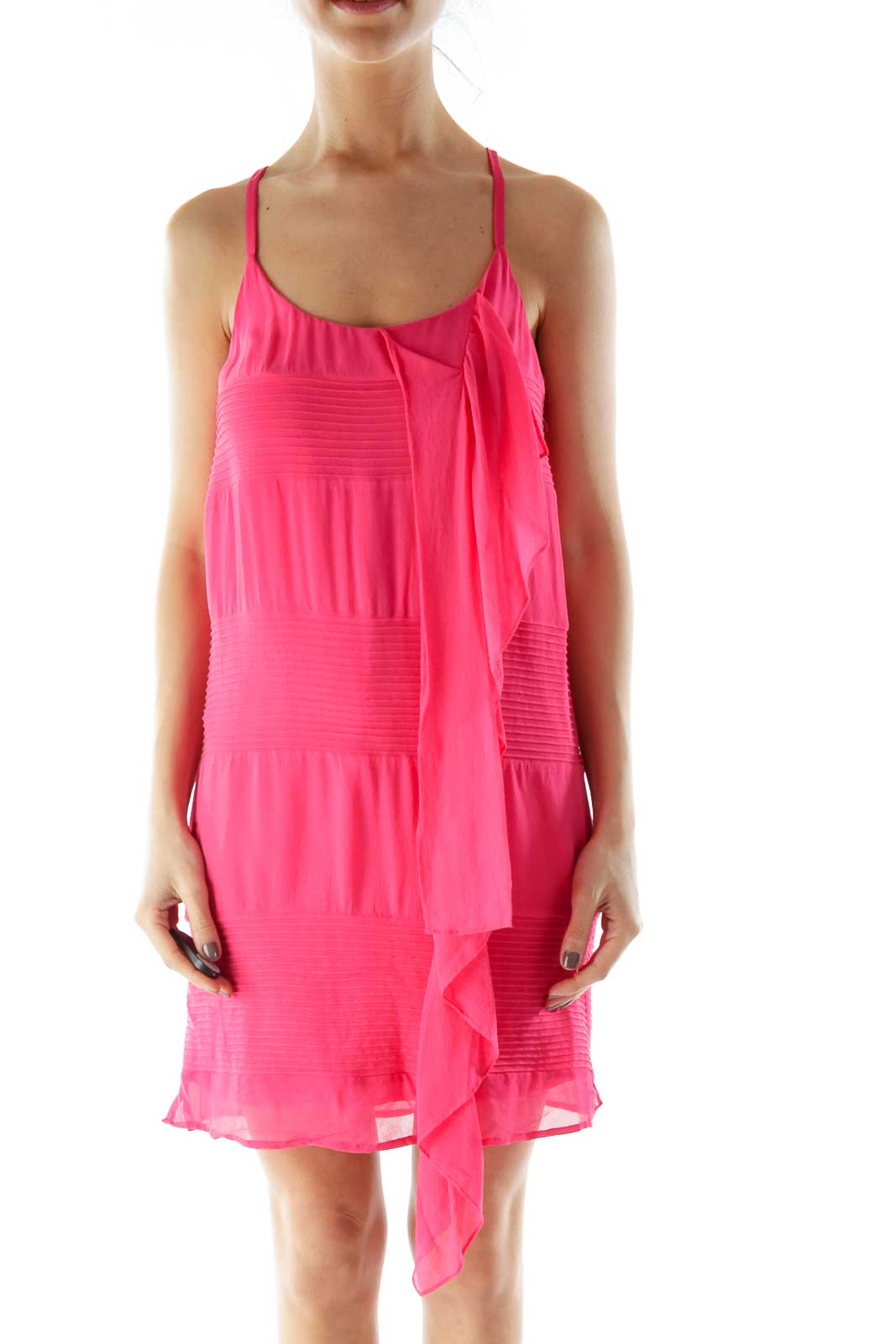 Pink Ribbed Detail Cocktail Dress Front